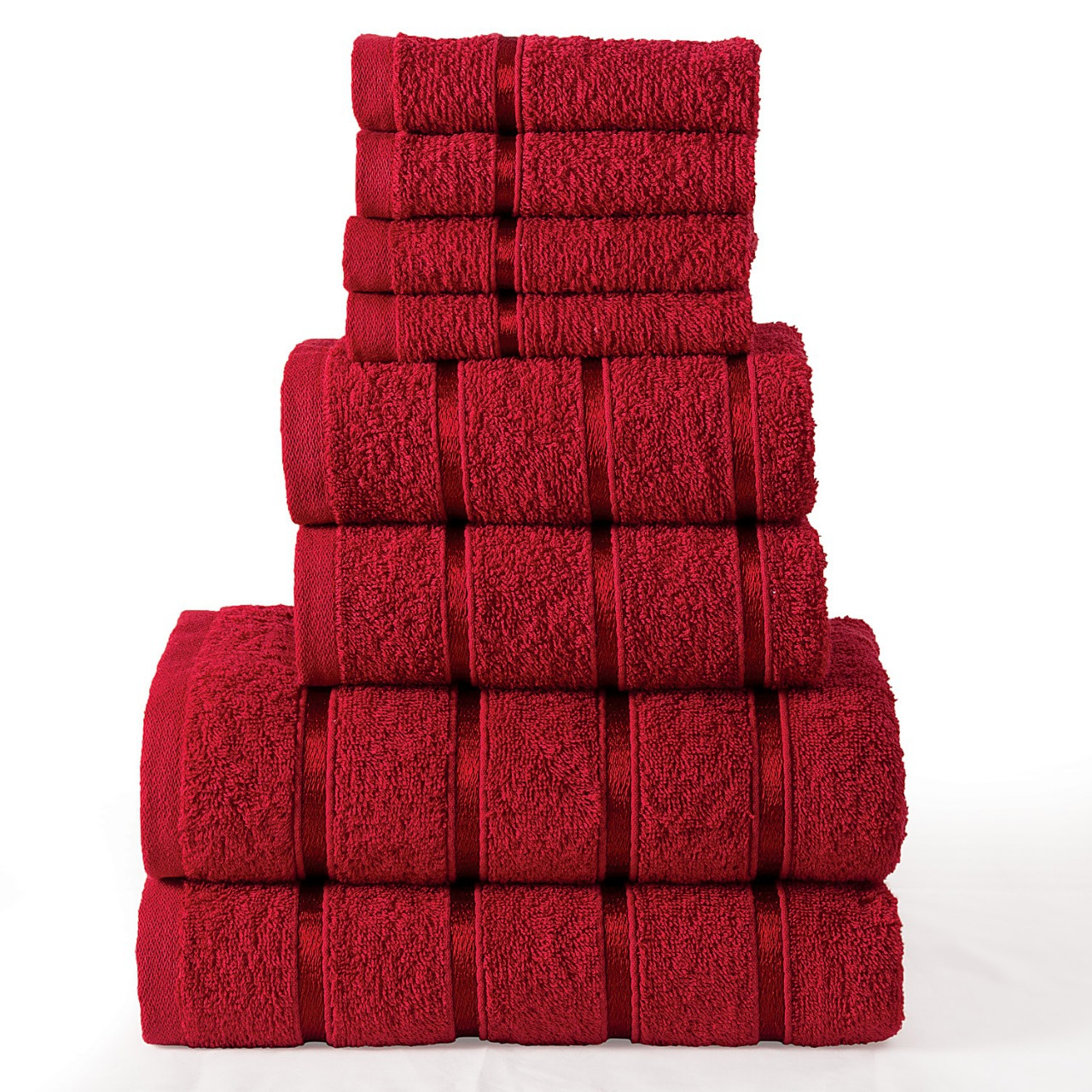 8 Pcs 100% Cotton Red Premium Bale Set Plain Towel