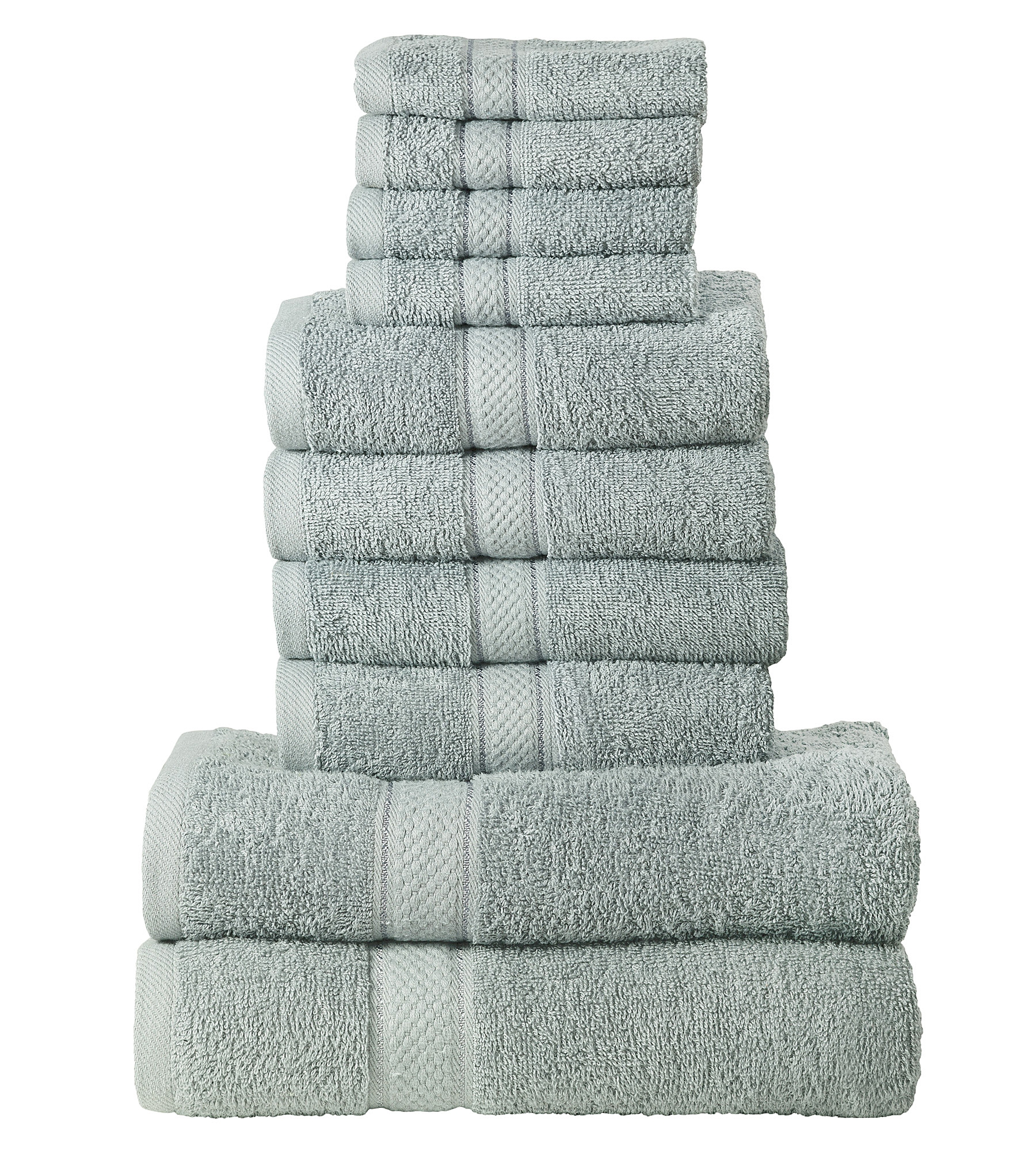 10 Pcs 100% Cotton Silver Premium Towel Bale Set Plain