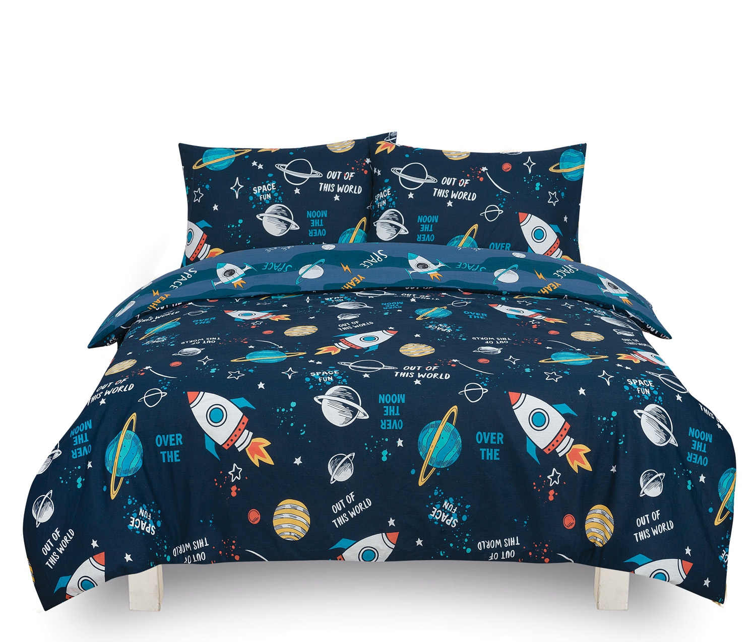 Space 'Out of This World' Kids Two Sided Design Reversible Rotary Single Bed Duvet Quilt Cover Set