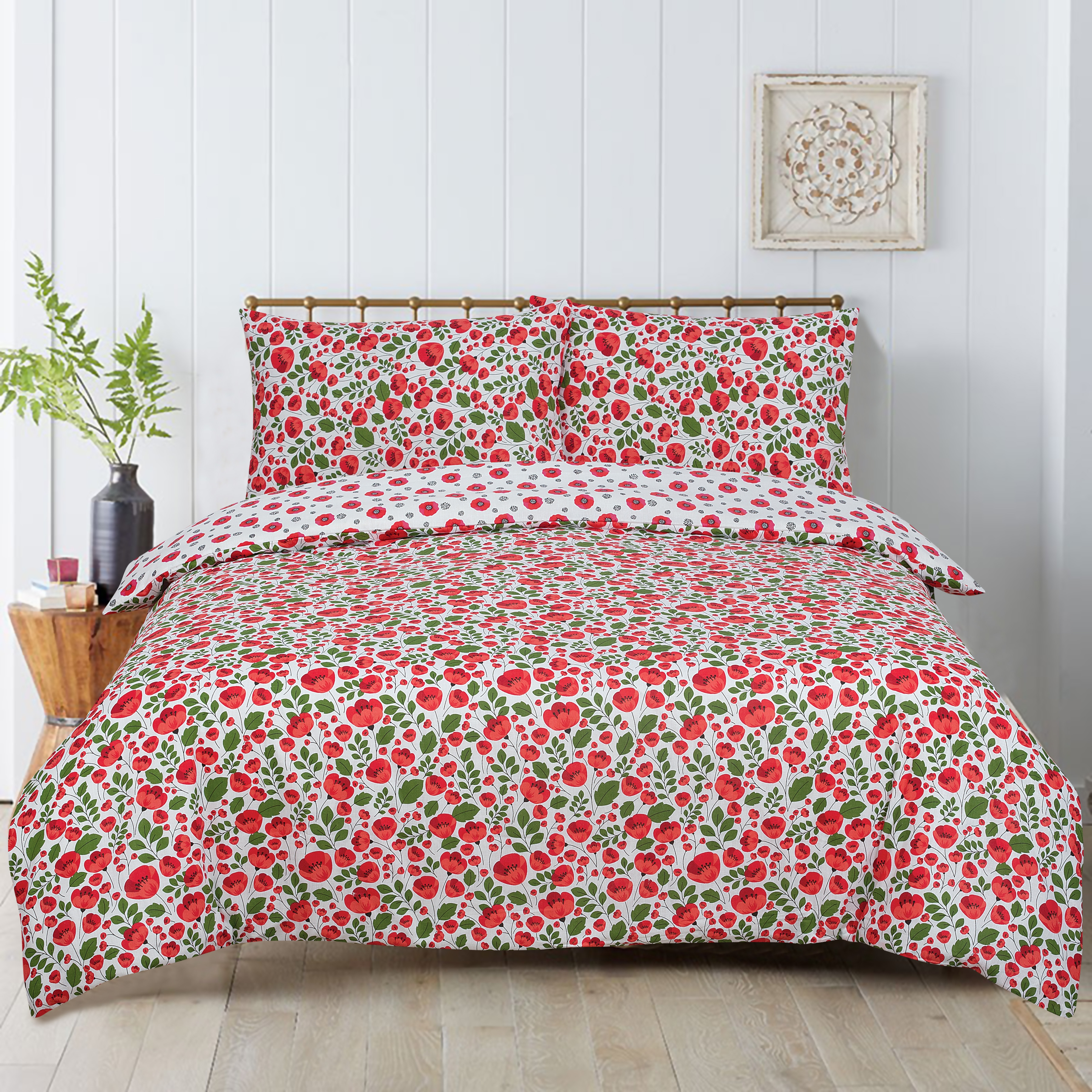 Floral Poppy Reversible Rotary King Bed Duvet Quilt Cover Set