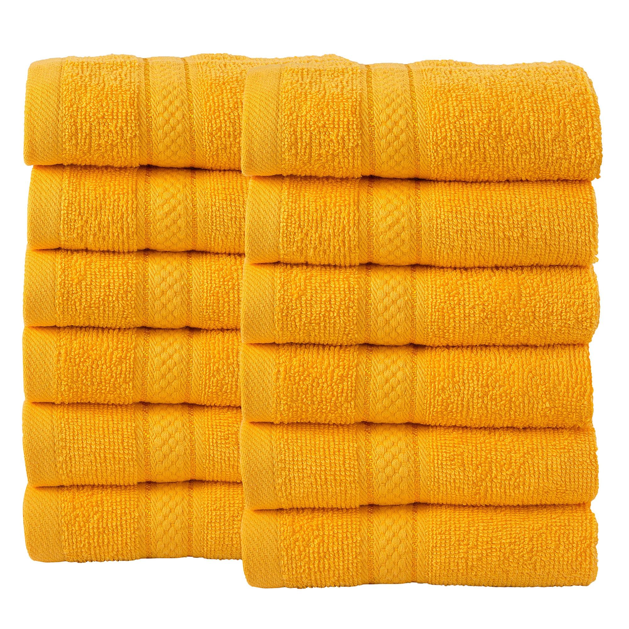 12 Pcs Face Cotton Towel Bale Set Sunflower Plain