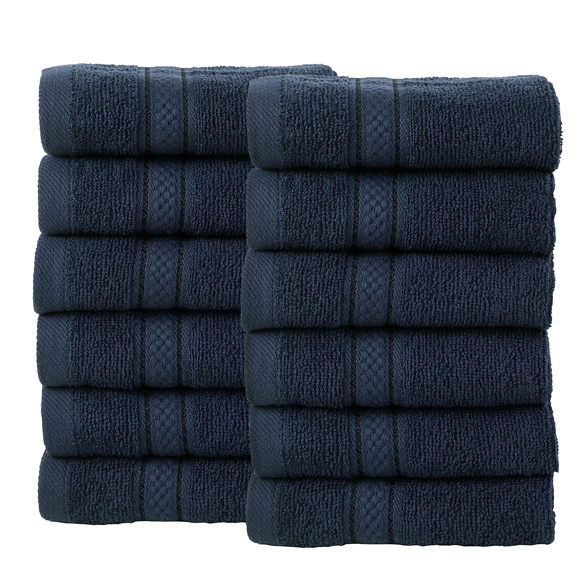12 Pcs Face Cotton Towel Bale Set Navy Plain