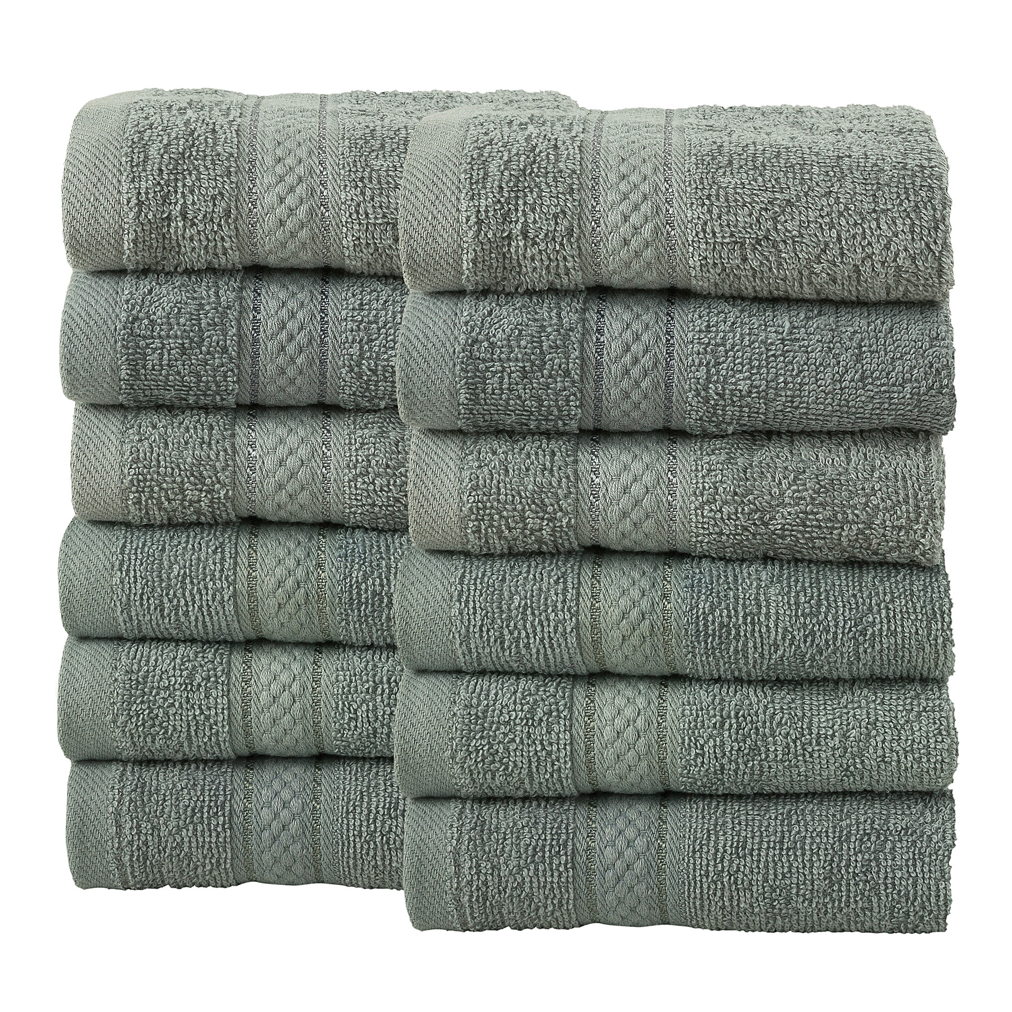 12 Pcs Face Cotton Towel Bale Set Silver Plain