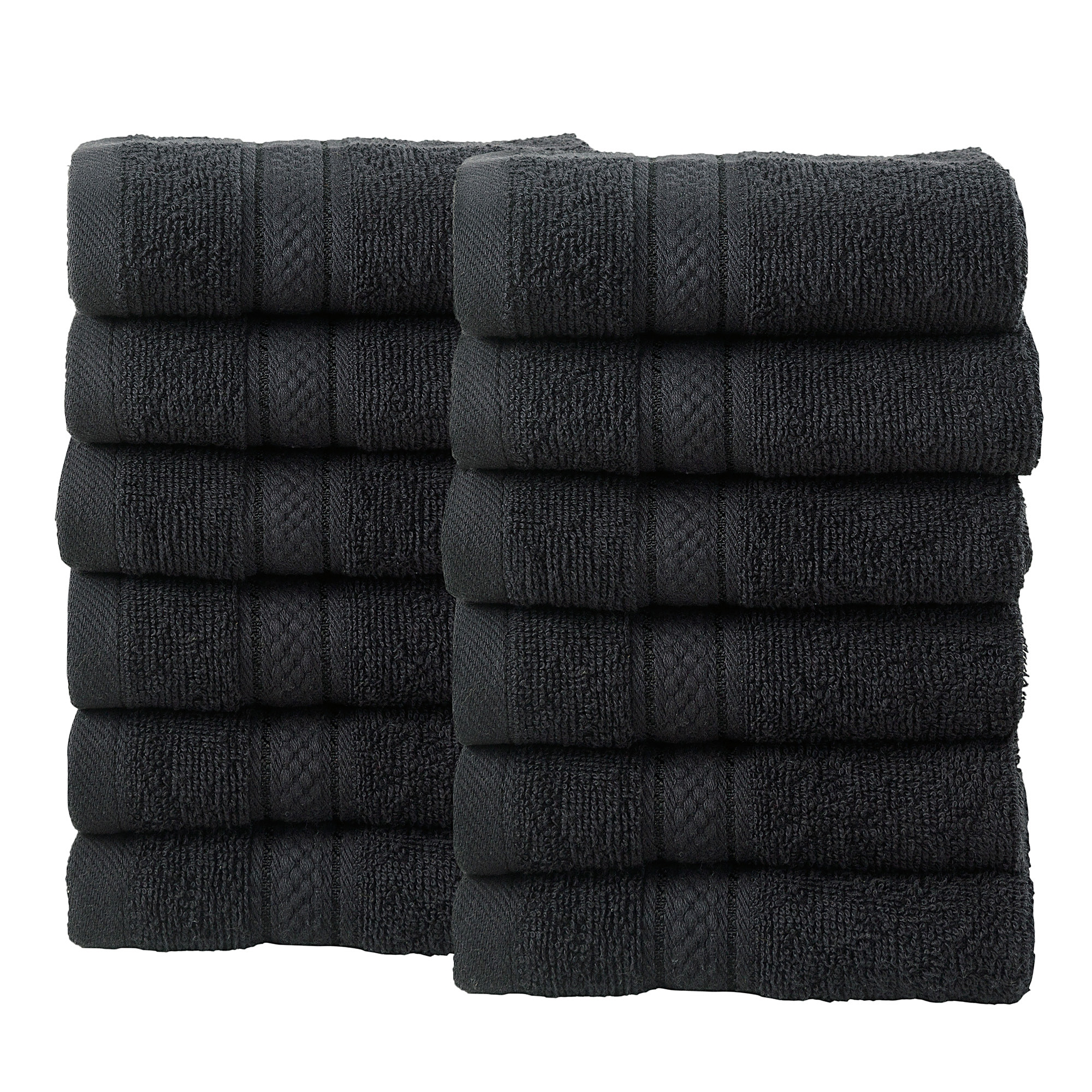 12 Pcs Face Cotton Towel Bale Set Black Plain