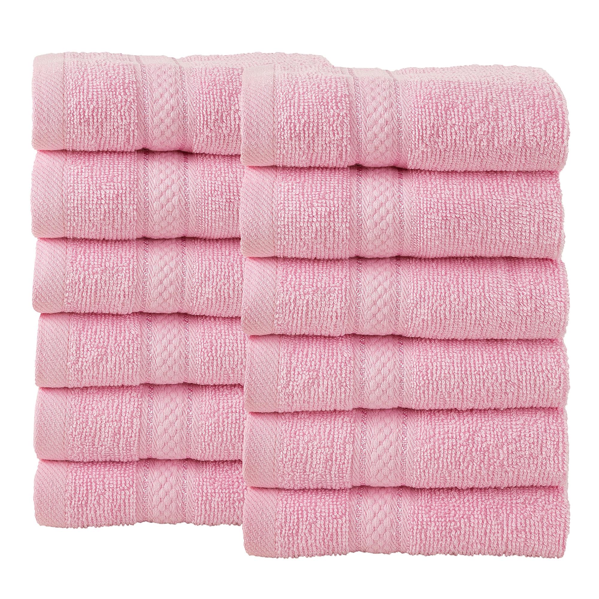 12 Pcs Face Cotton Towel Bale Set Blush Pink Plain