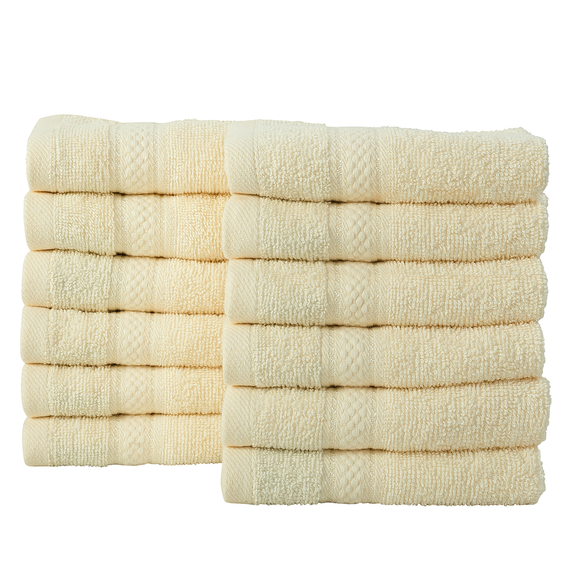 12 Pcs Face Cotton Towel Bale Set Cream Plain