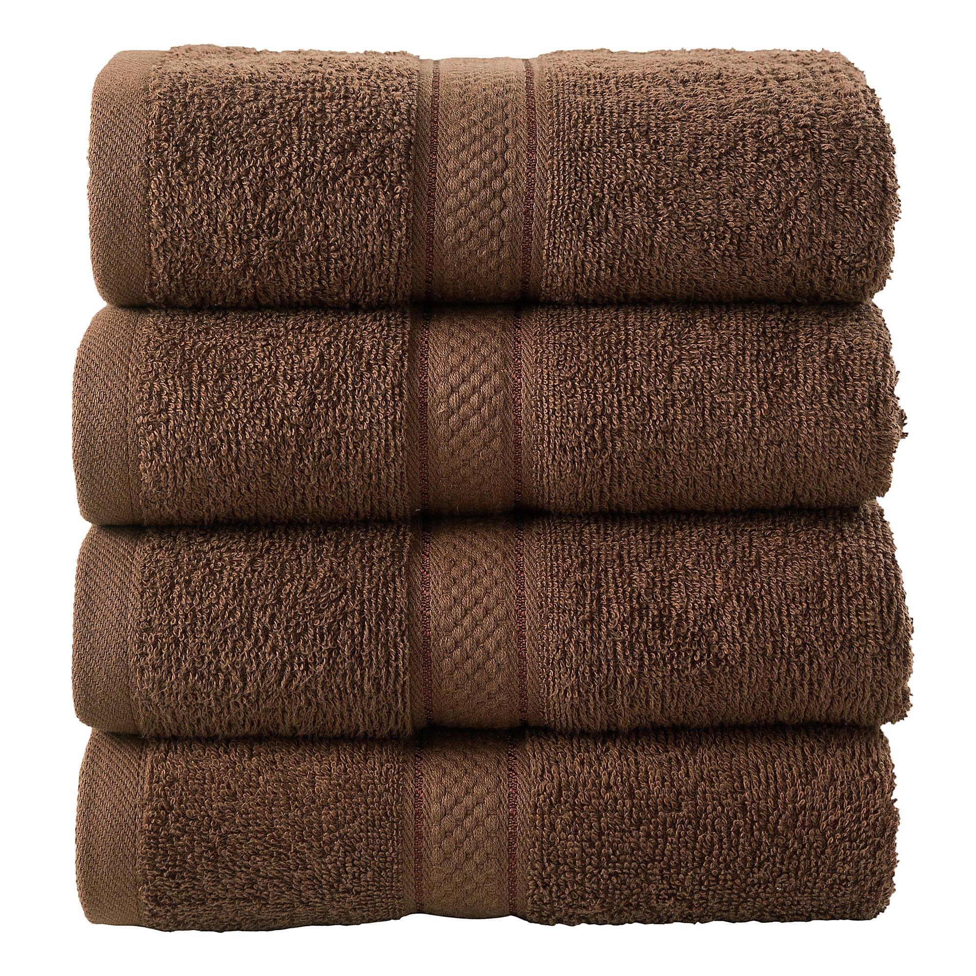 4 Pcs Hand Cotton Towel Bale Set Chocolate Plain