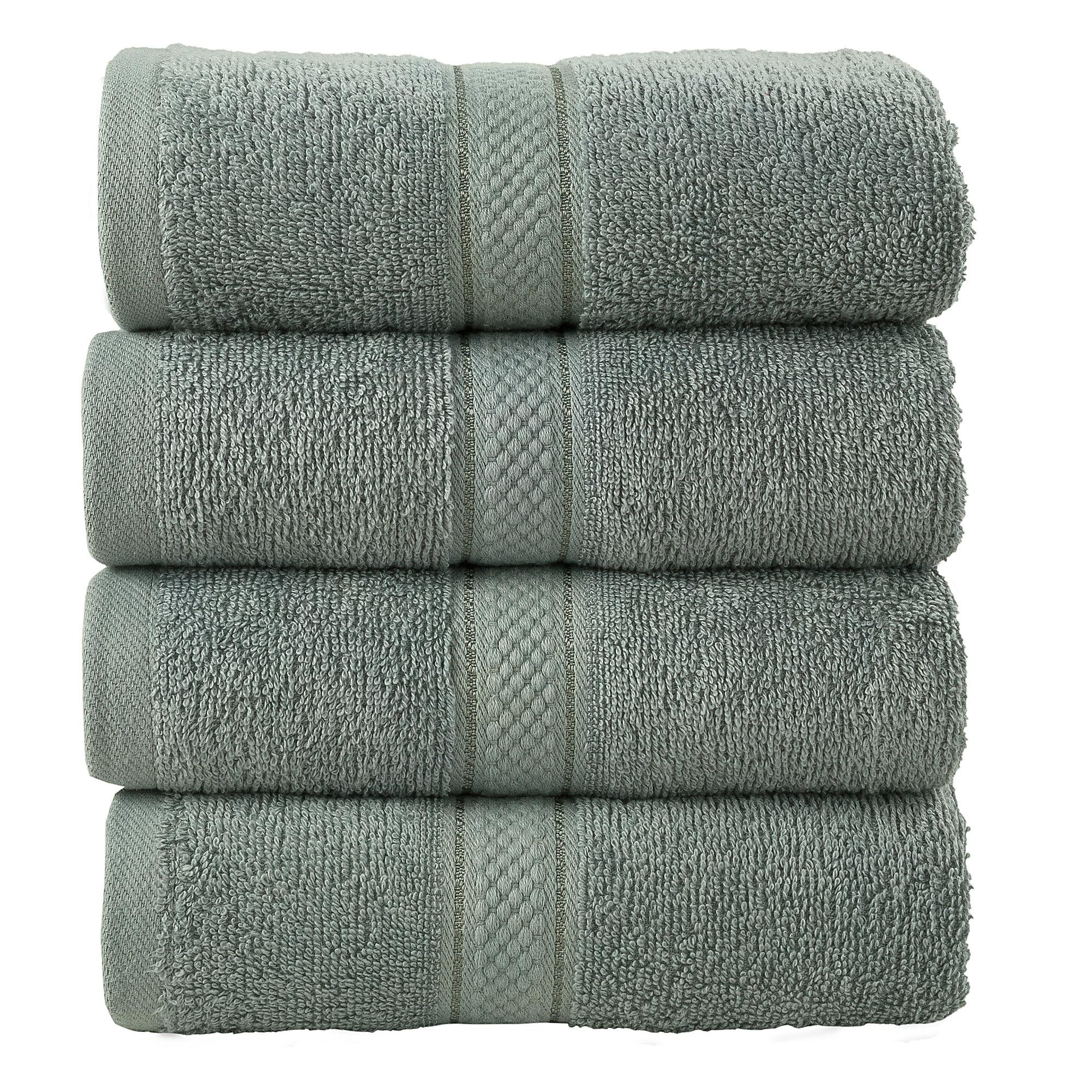 4 Pcs Hand Cotton Towel Bale Set Silver Plain