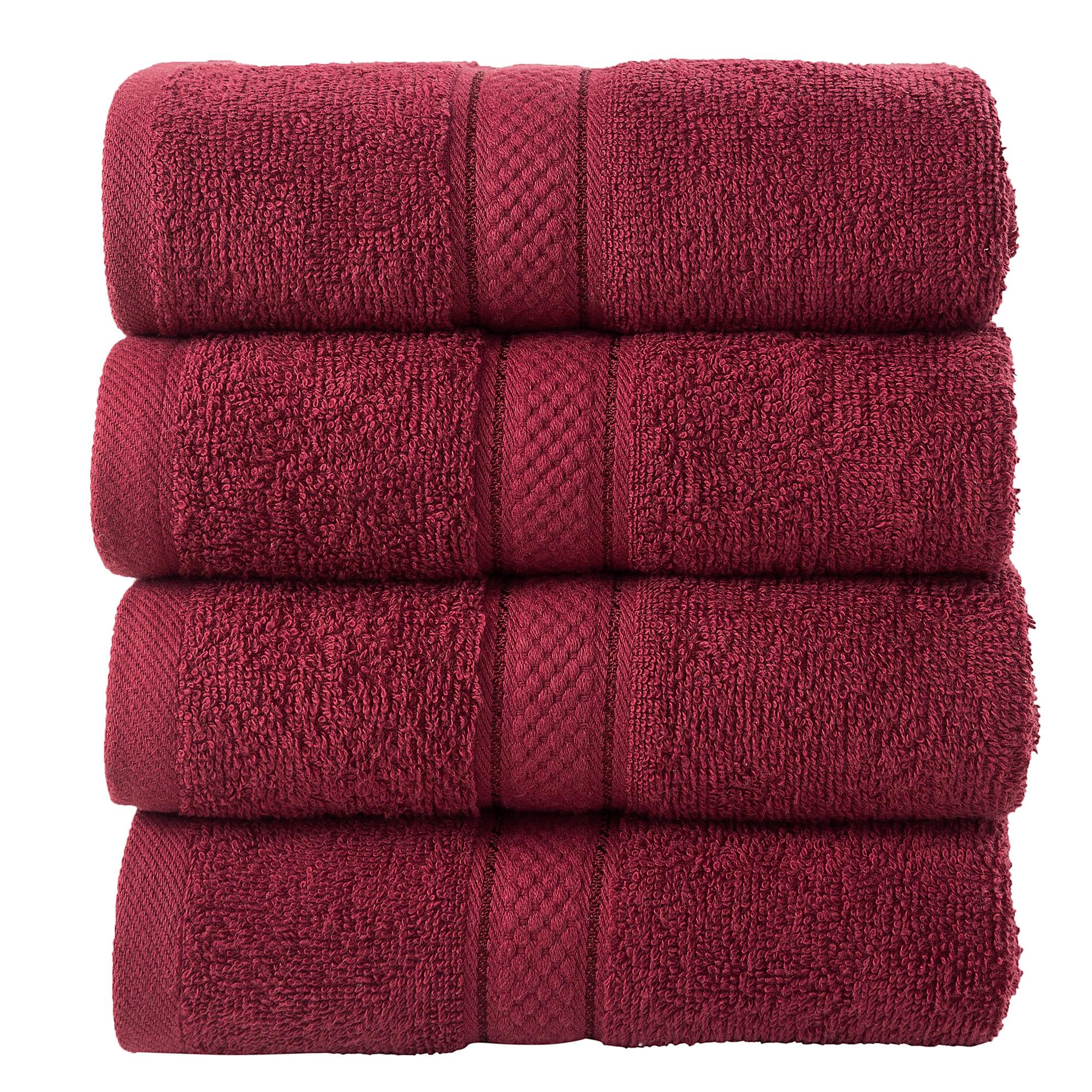 4 Pcs Hand Cotton Towel Bale Set Burgandy Plain