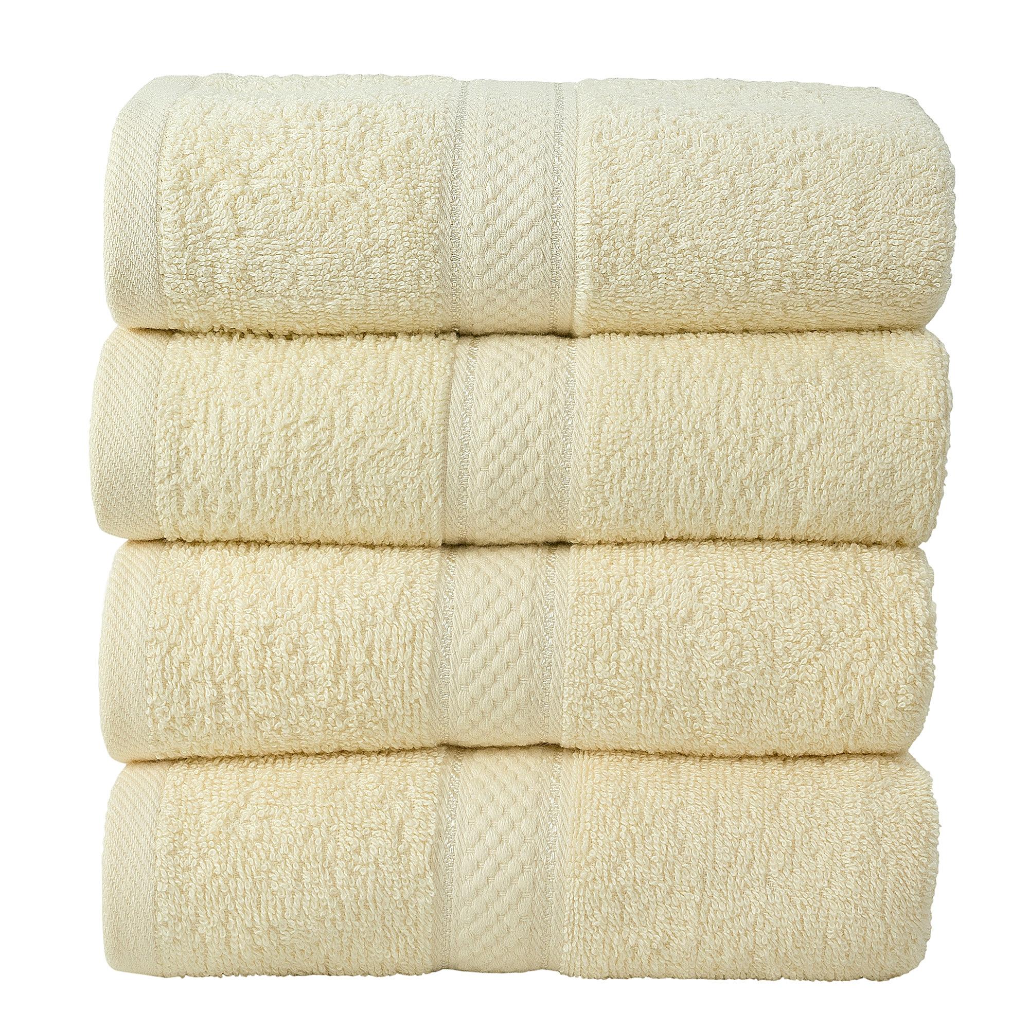4 Pcs Hand Cotton Towel Bale Set Cream Plain