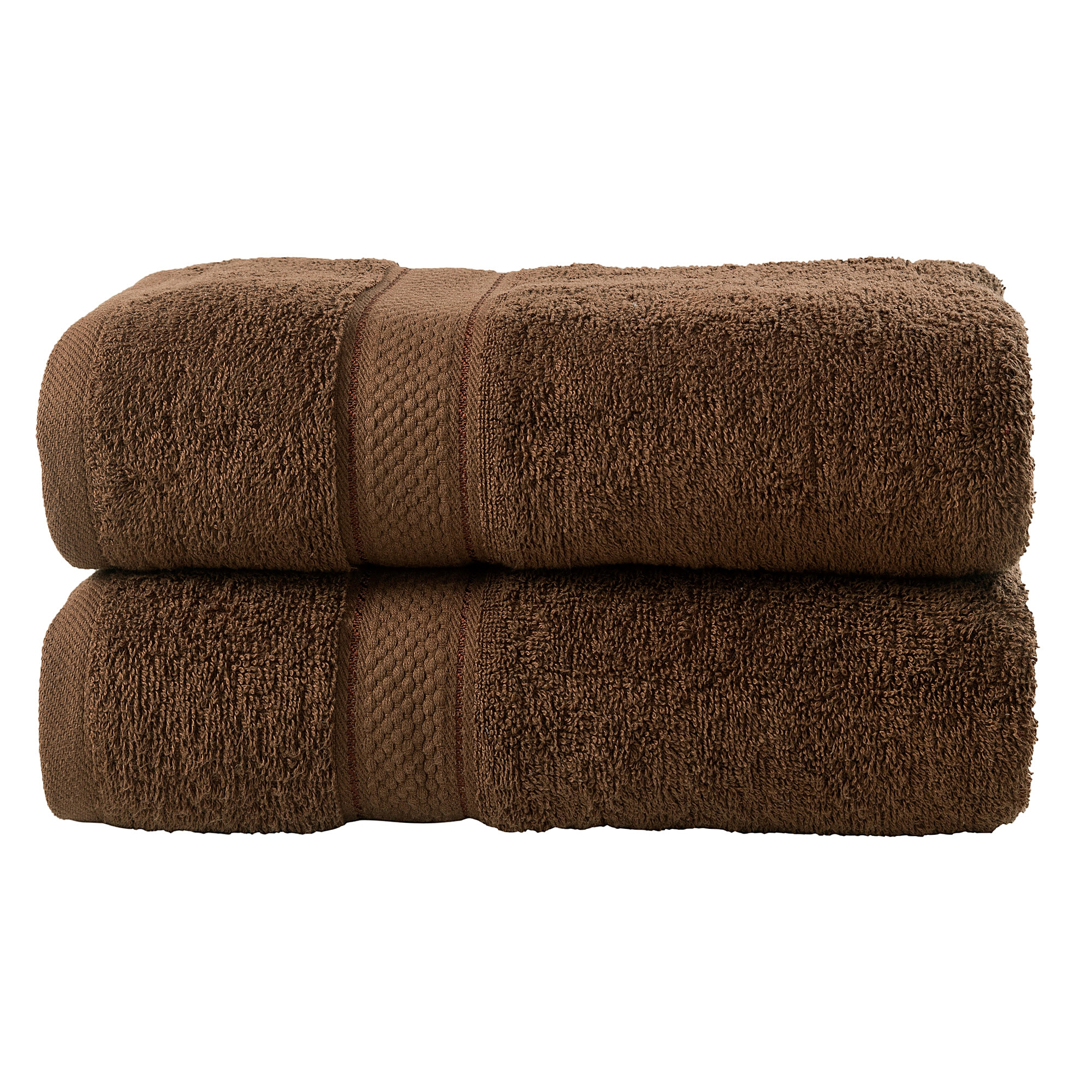 2 Pcs Bath Cotton Towel Bale Set Chocolate Plain