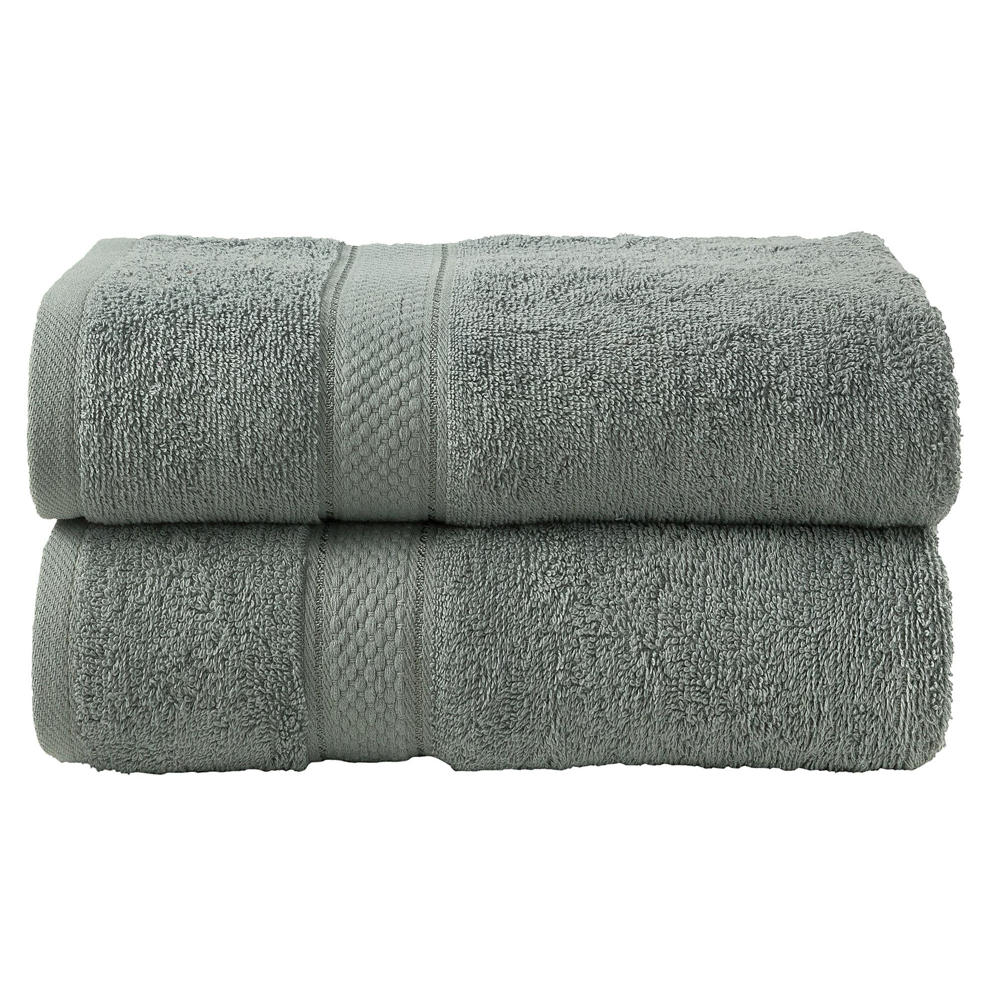 2 Pcs Bath Cotton Towel Bale Set Silver Plain
