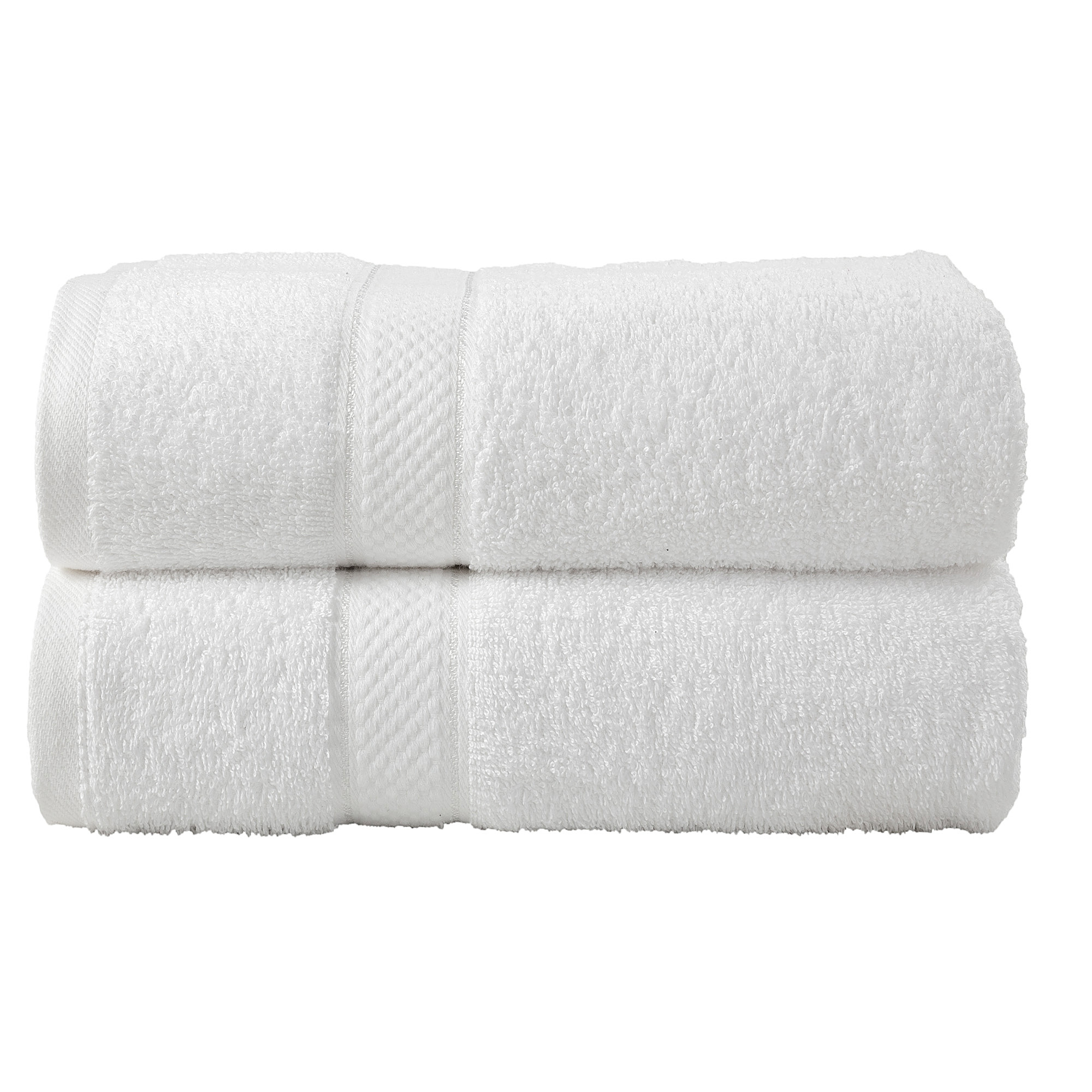 2 Pcs Bath Cotton Towel Bale Set White Plain