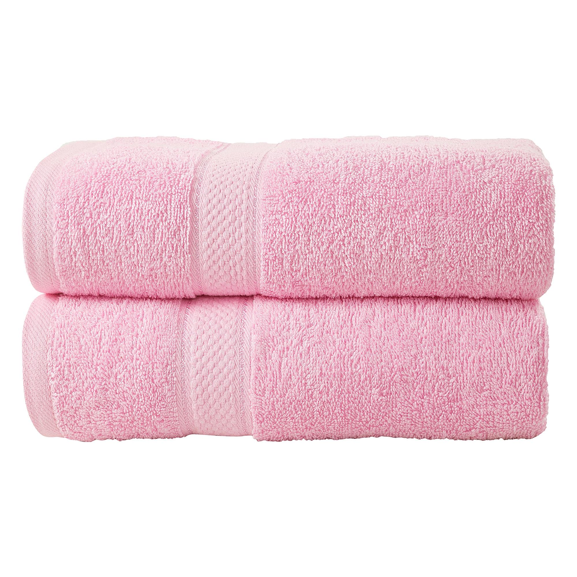 2 Pcs Bath Cotton Towel Bale Set Blush Pink Plain