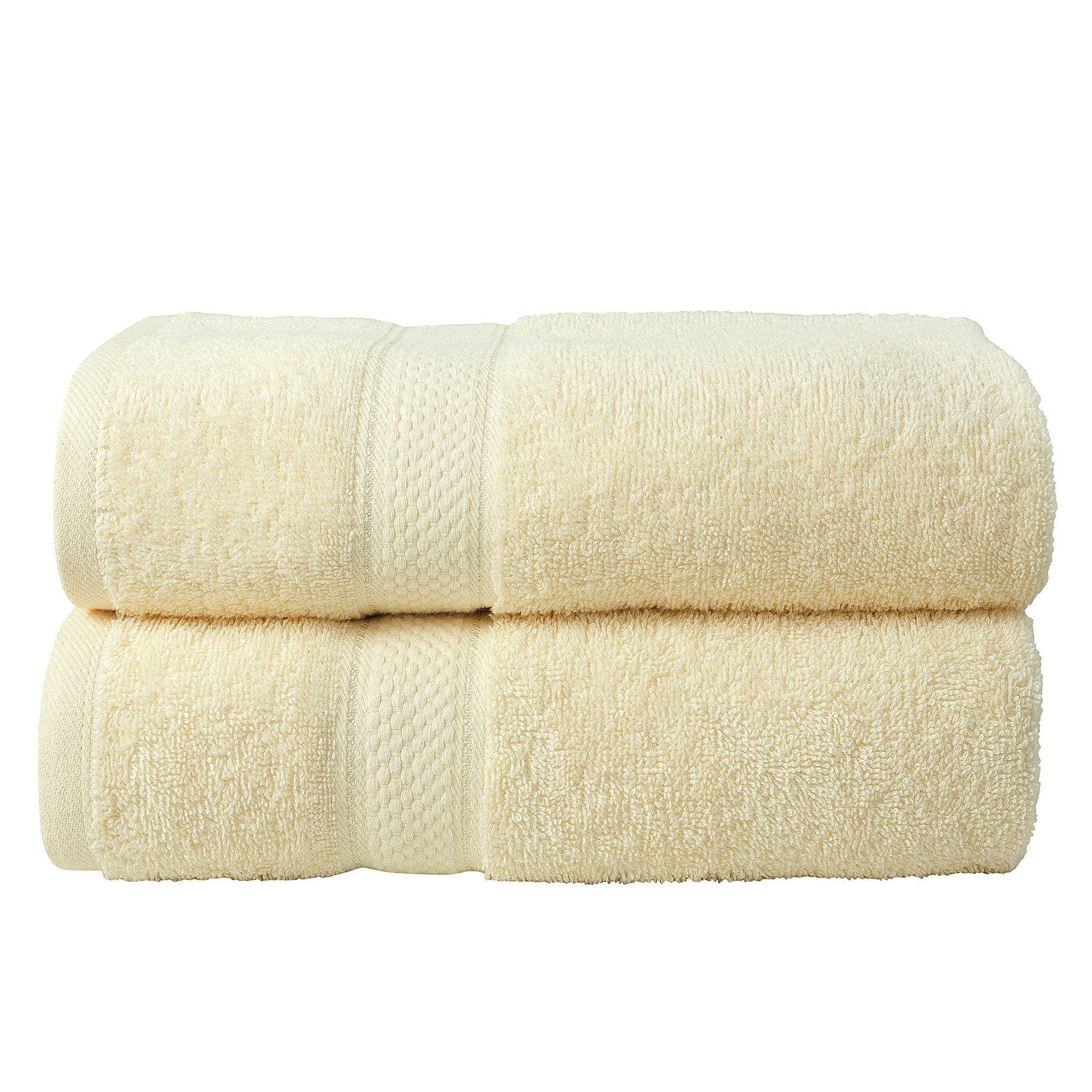 2 Pcs Bath Cotton Towel Bale Set Cream Plain