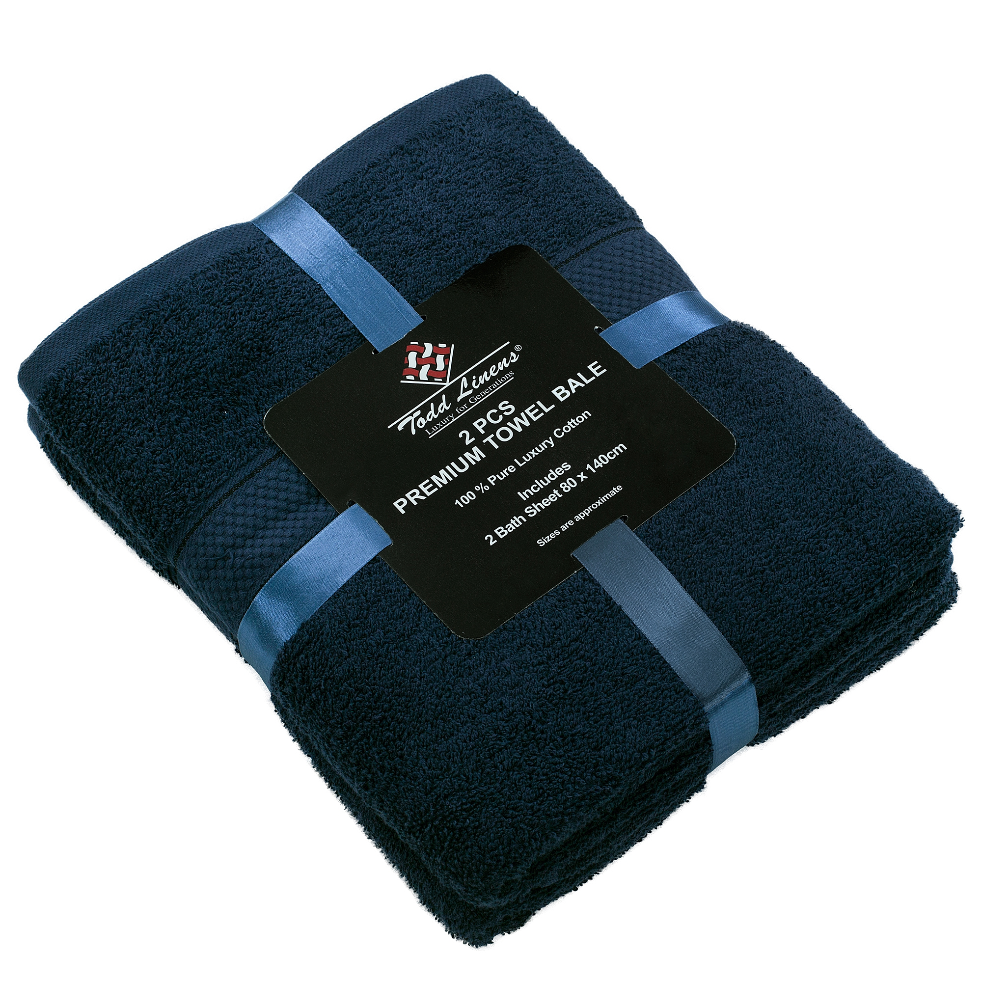 2 Pcs 100 % Cotton Premium Bath Sheet Towel Bale Set Navy Dark Plain