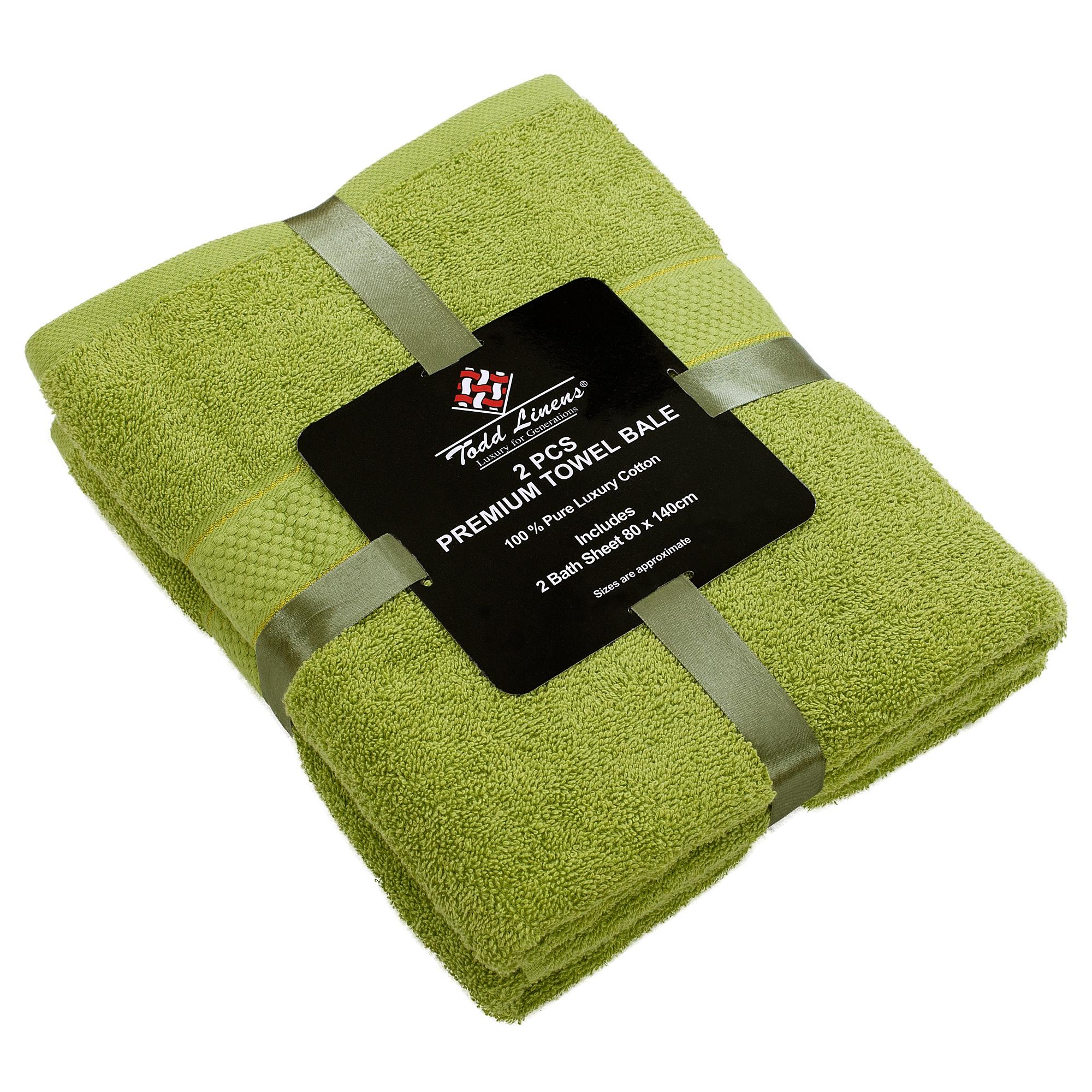 2 Pcs 100 % Cotton Premium Bath Sheet Towel Bale Set Olive Plain
