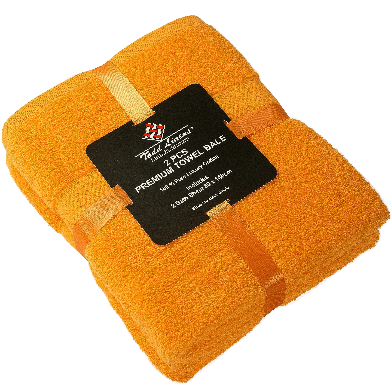 2 Pcs 100 % Cotton Premium Bath Sheet Towel Bale Set Orange Plain