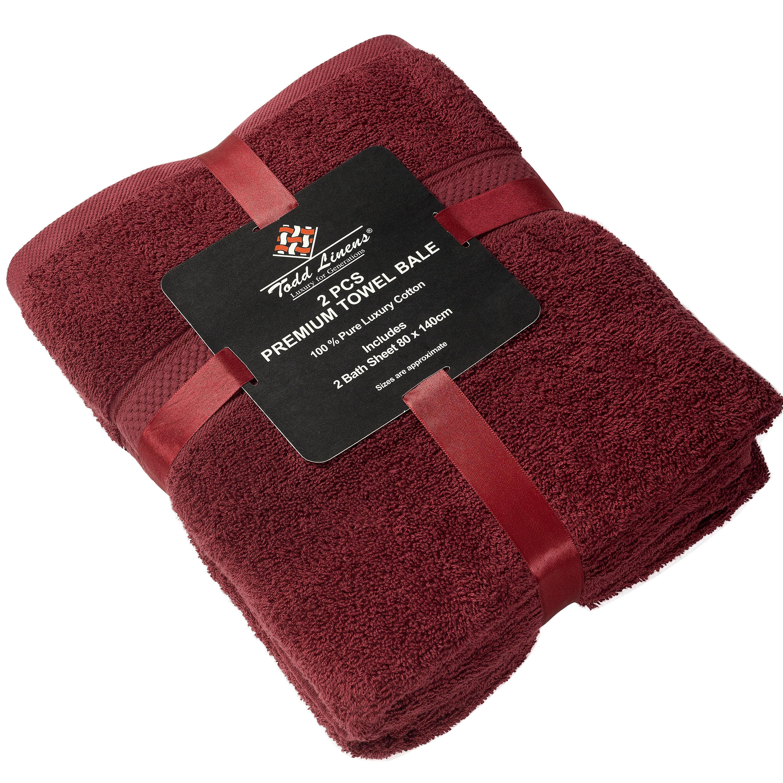 2 Pcs 100 % Cotton Premium Bath Sheet Towel Bale Set Burgundy Plain