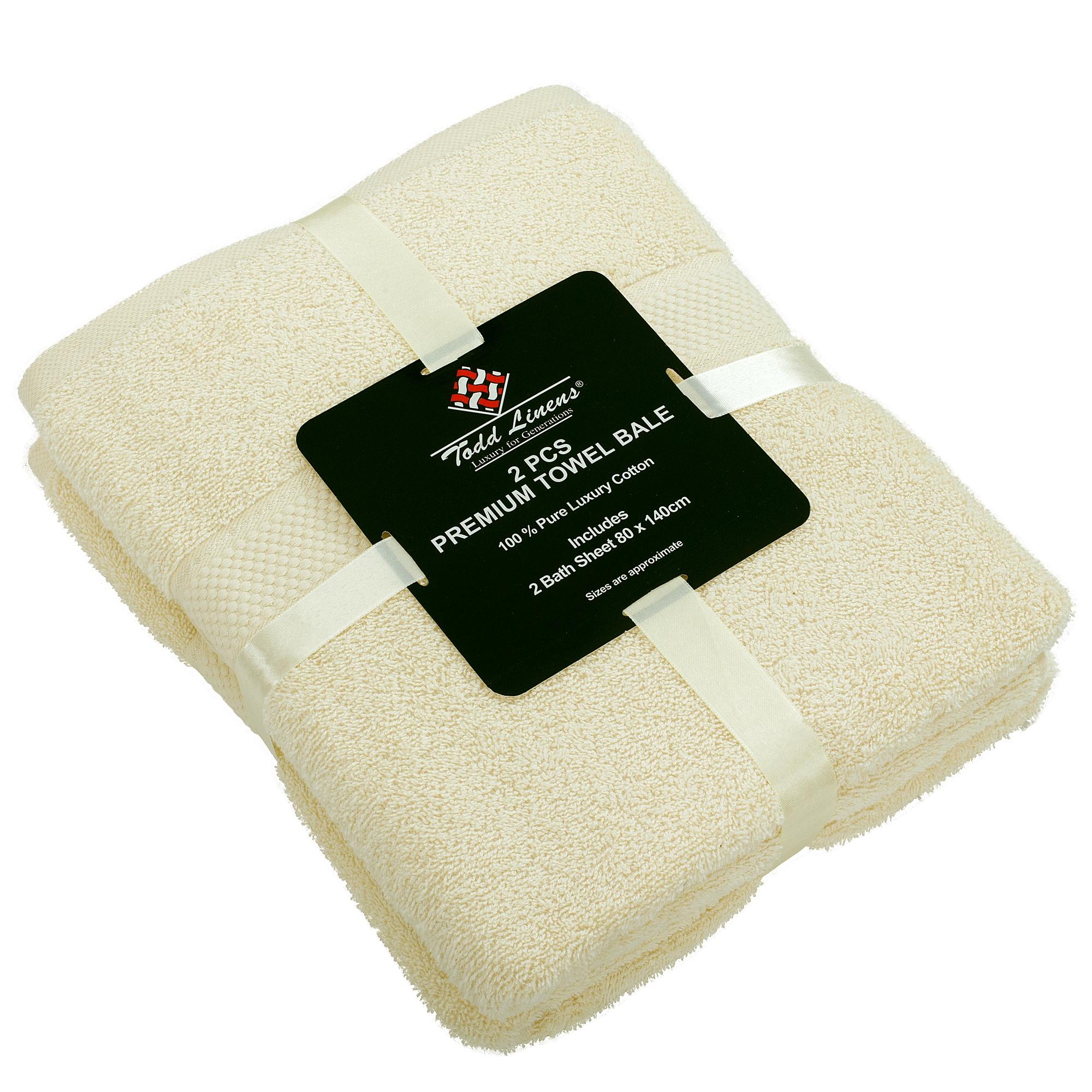 2 Pcs 100 % Cotton Premium Bath Sheet Towel Bale Set Cream Plain