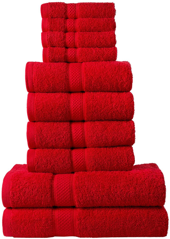 10 Pcs 100% Cotton Red Premium Towel Bale Set Plain