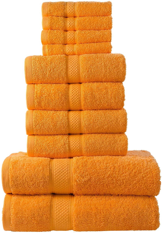 10 Pcs 100% Cotton Orange Premium Towel Bale Set Plain