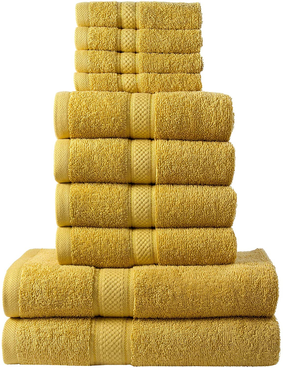 10 Pcs 100% Cotton Mustard Premium Towel Bale Set Plain