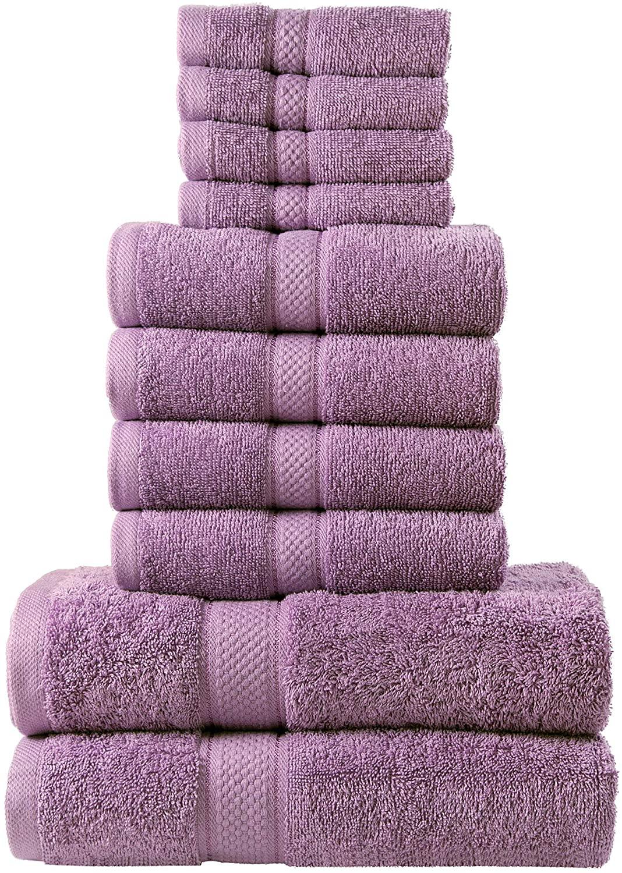10 Pcs 100% Cotton Lilac Premium Towel Bale Set Plain