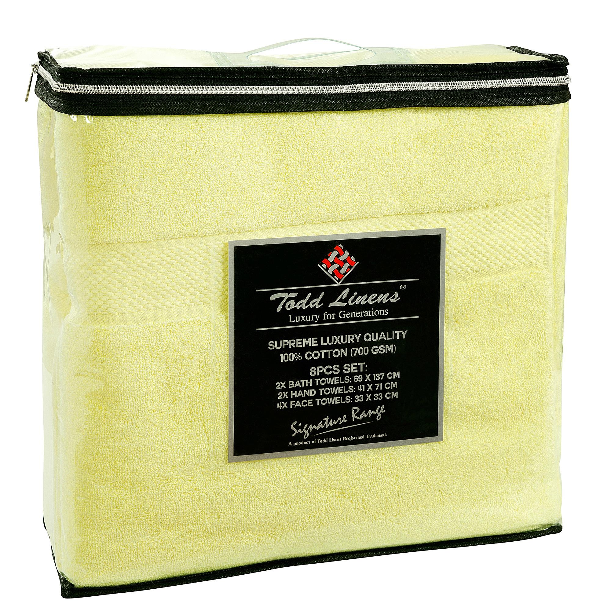 8pcs 700gsm Signature Range Lemon Plain 8 Pieces Bale Set Towel