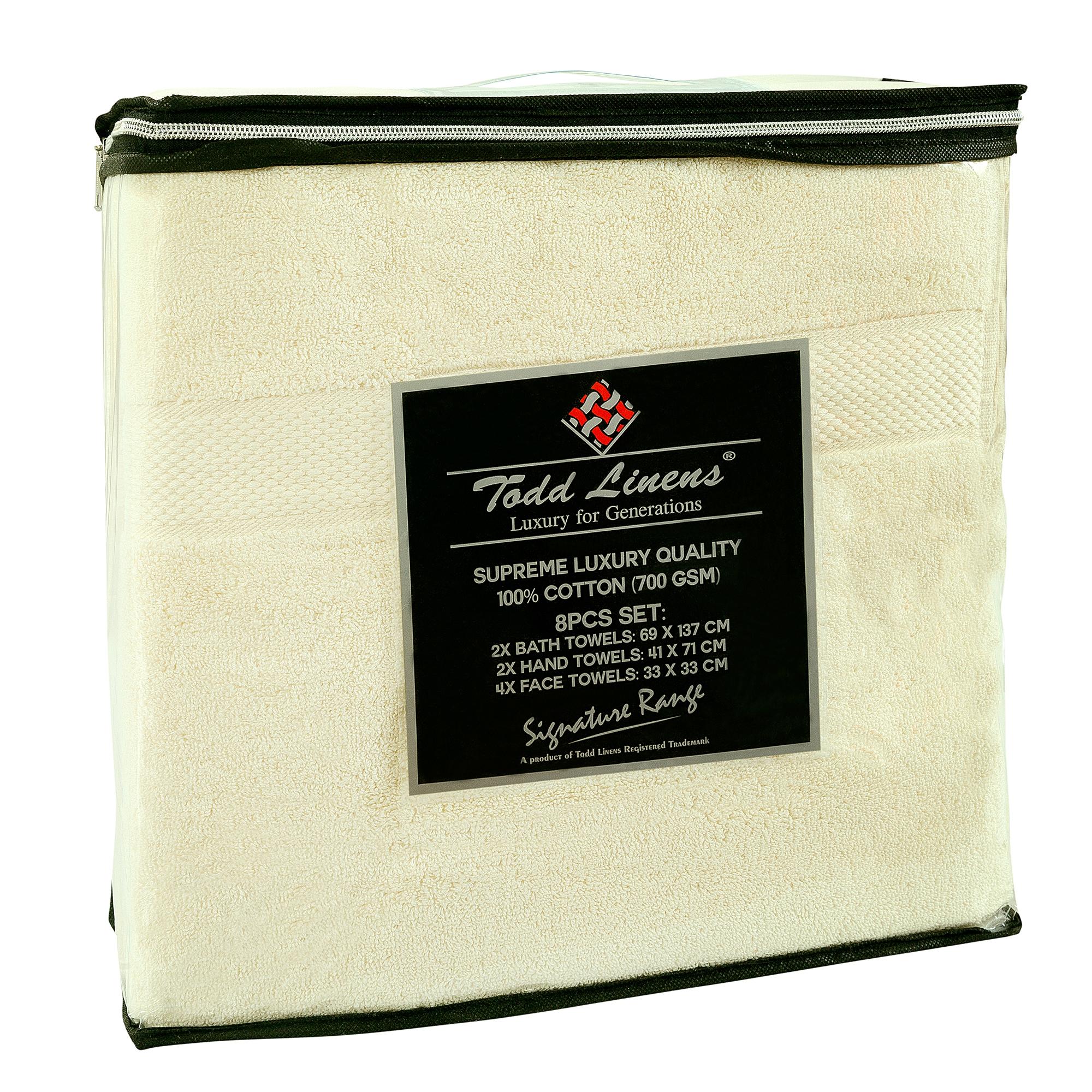 8pcs 700gsm Signature Range Cream Plain 8 Pieces Bale Set Towel