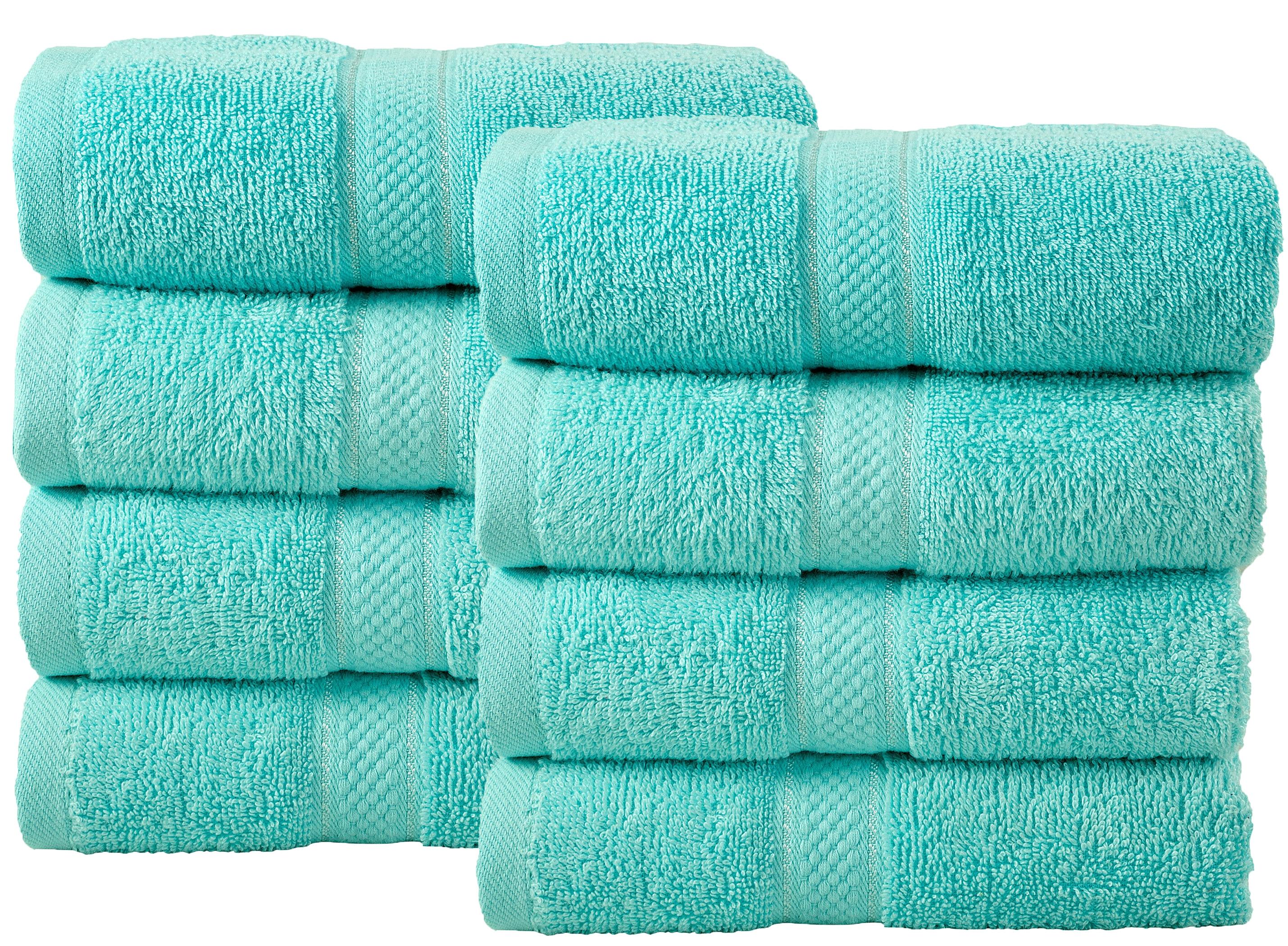 Bale Set 8pcs Turquoise Plain Hand Towel