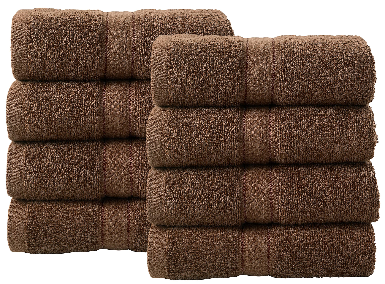 Bale Set 8pcs Chocolate Plain Hand Towel