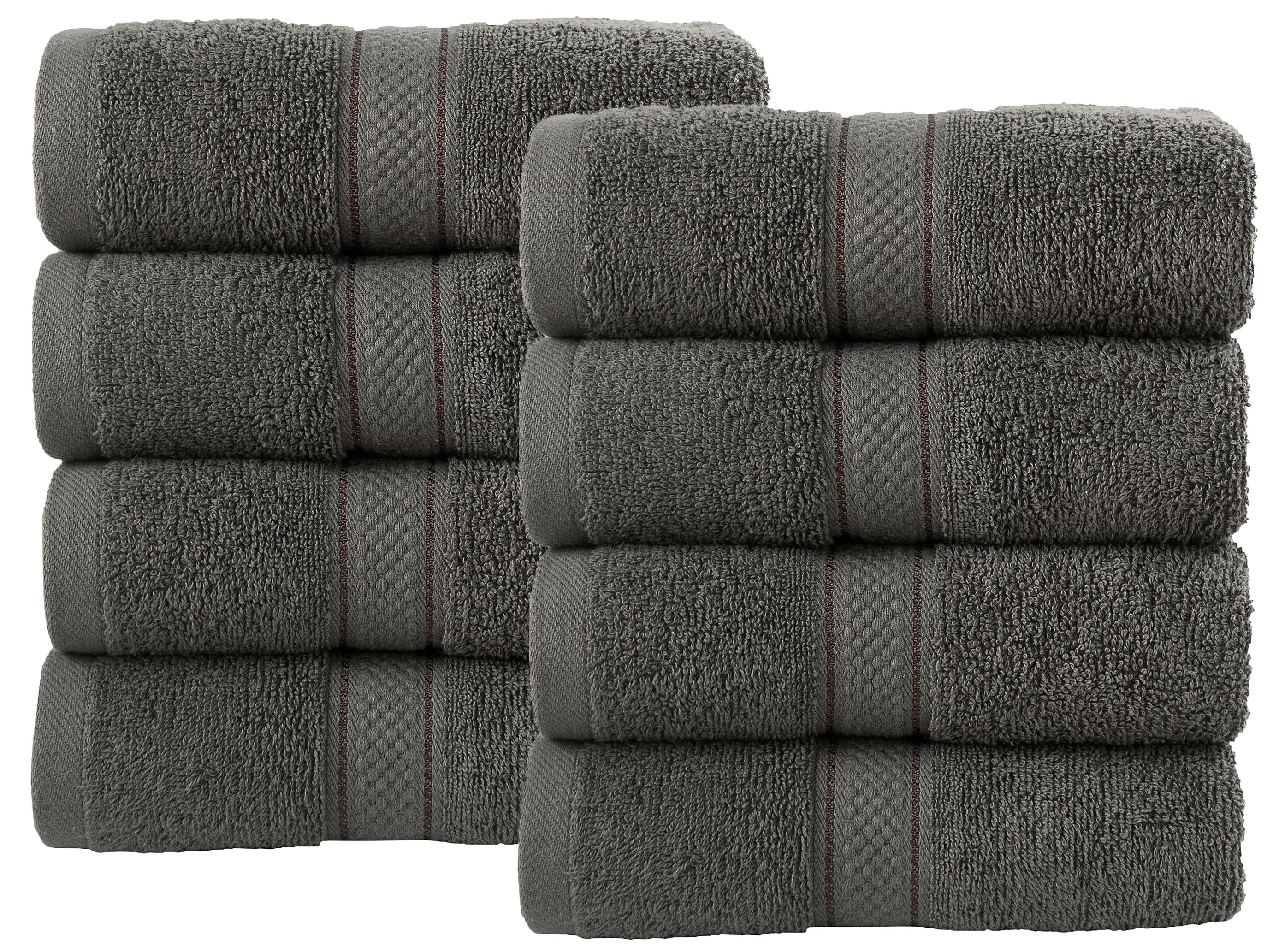 Bale Set 8pcs Grey Plain Hand Towel