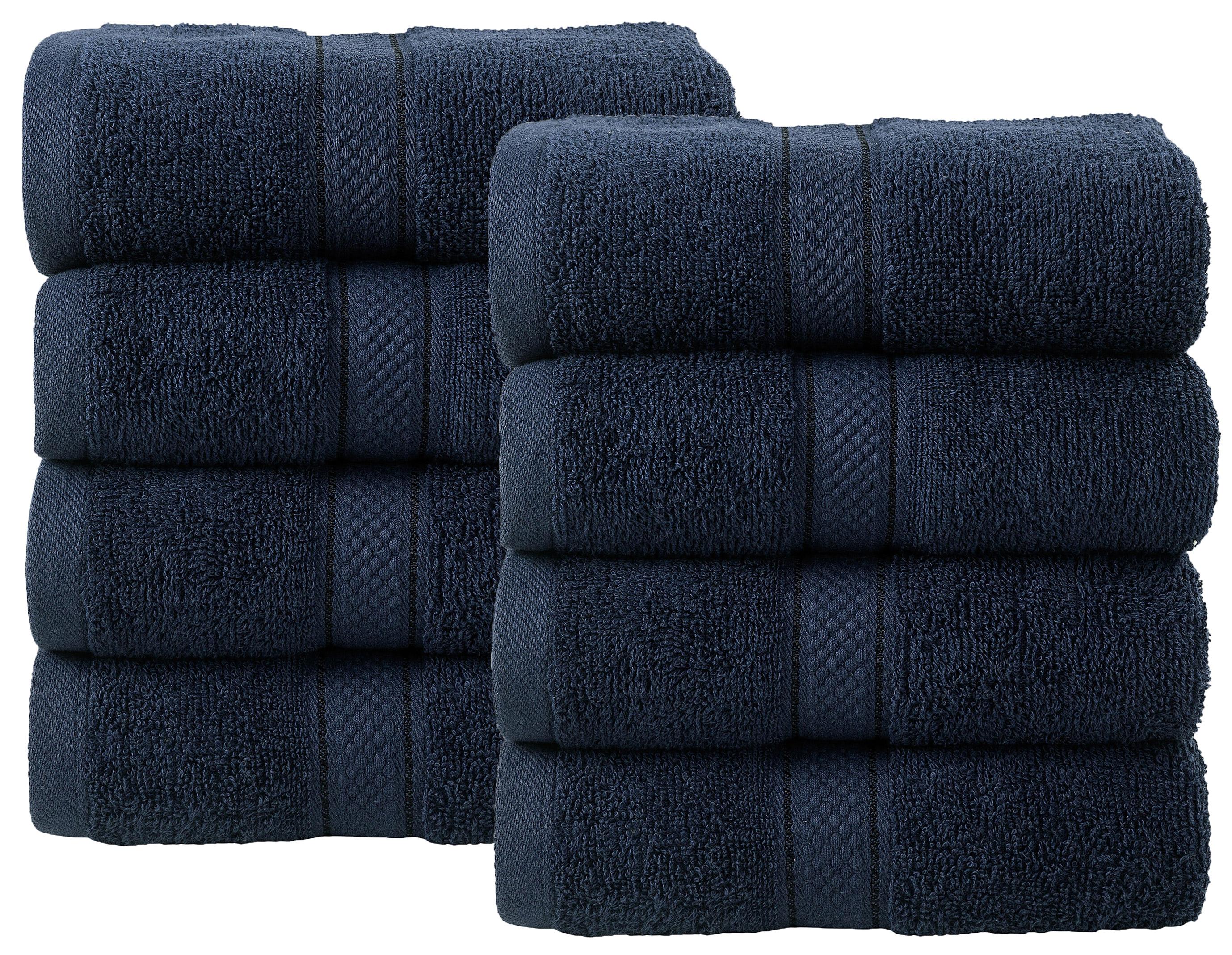 Bale Set 8pcs Navy Plain Hand Towel