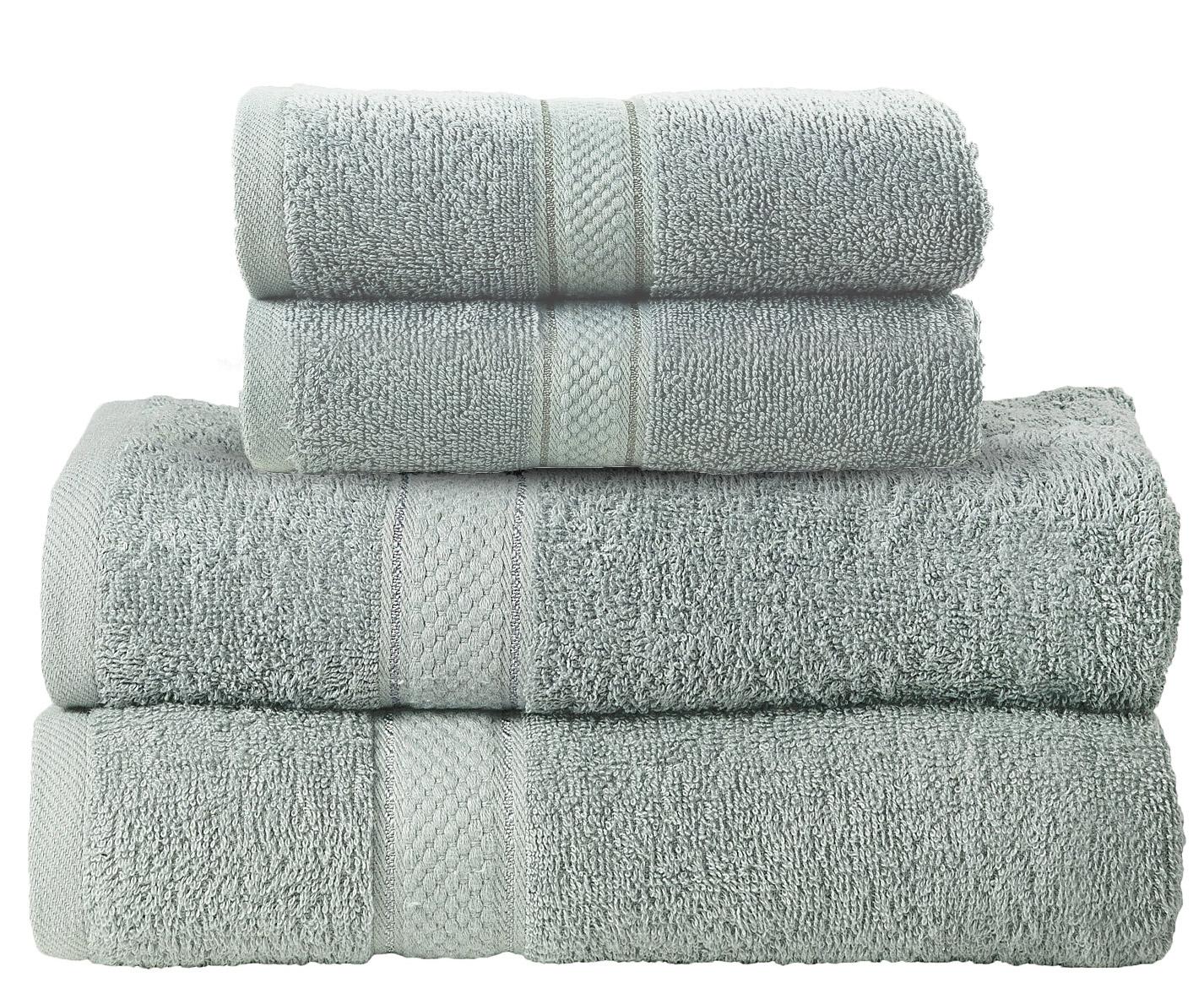 Bale Set 4pcs Silver Plain 2x Hand Towel & Bath
