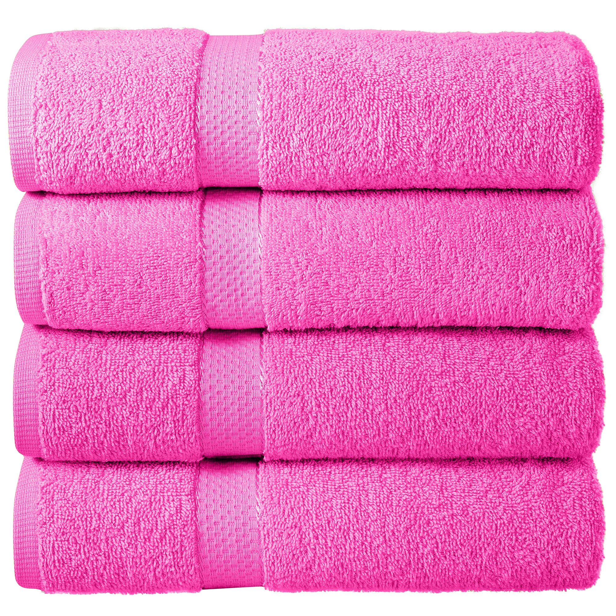 Bale Set 4pcs Pink Viscose Plain Bath Sheet Towel