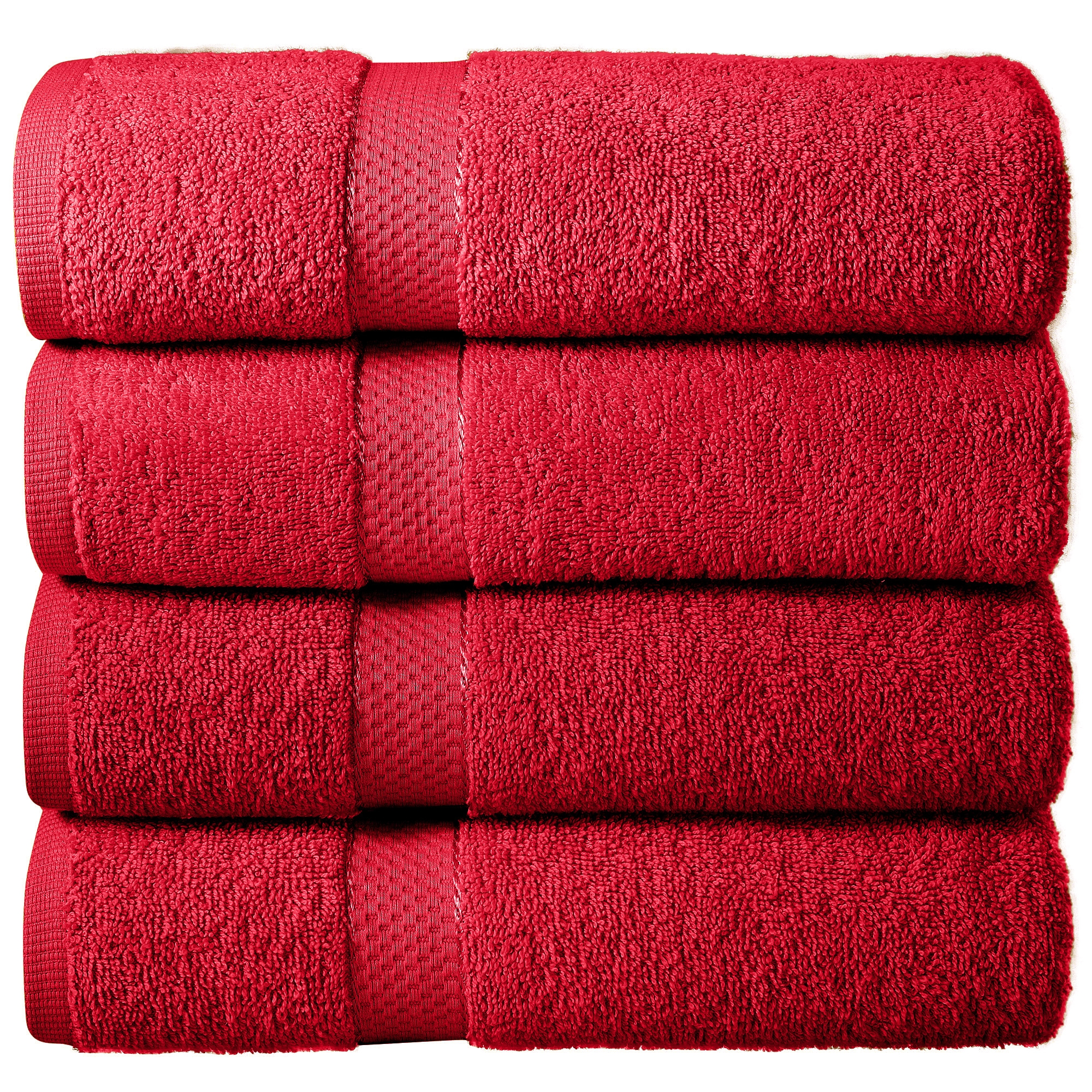 Bale Set 4pcs Red Viscose Plain Bath Sheet Towel
