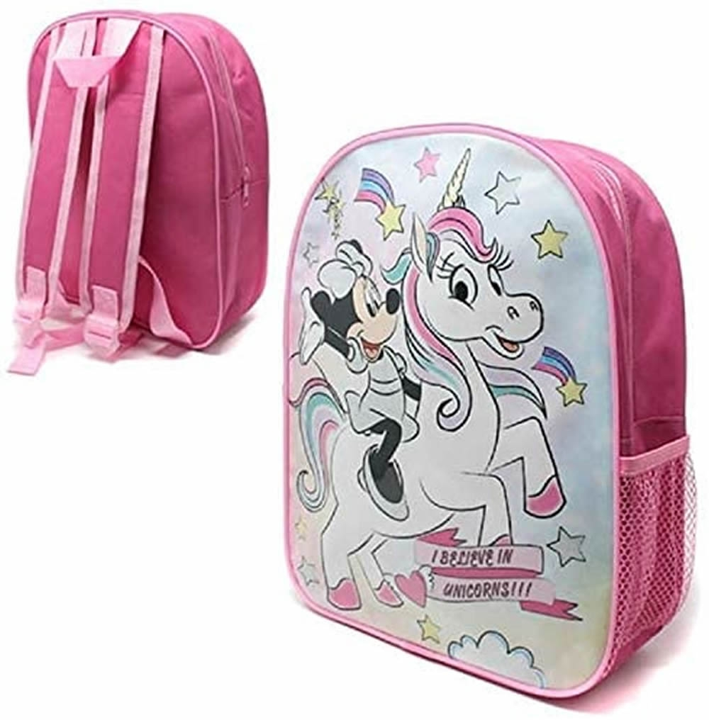 Minnie Mouse Unicorn Mesh Side Pocket School Bag Rucksack Backpack