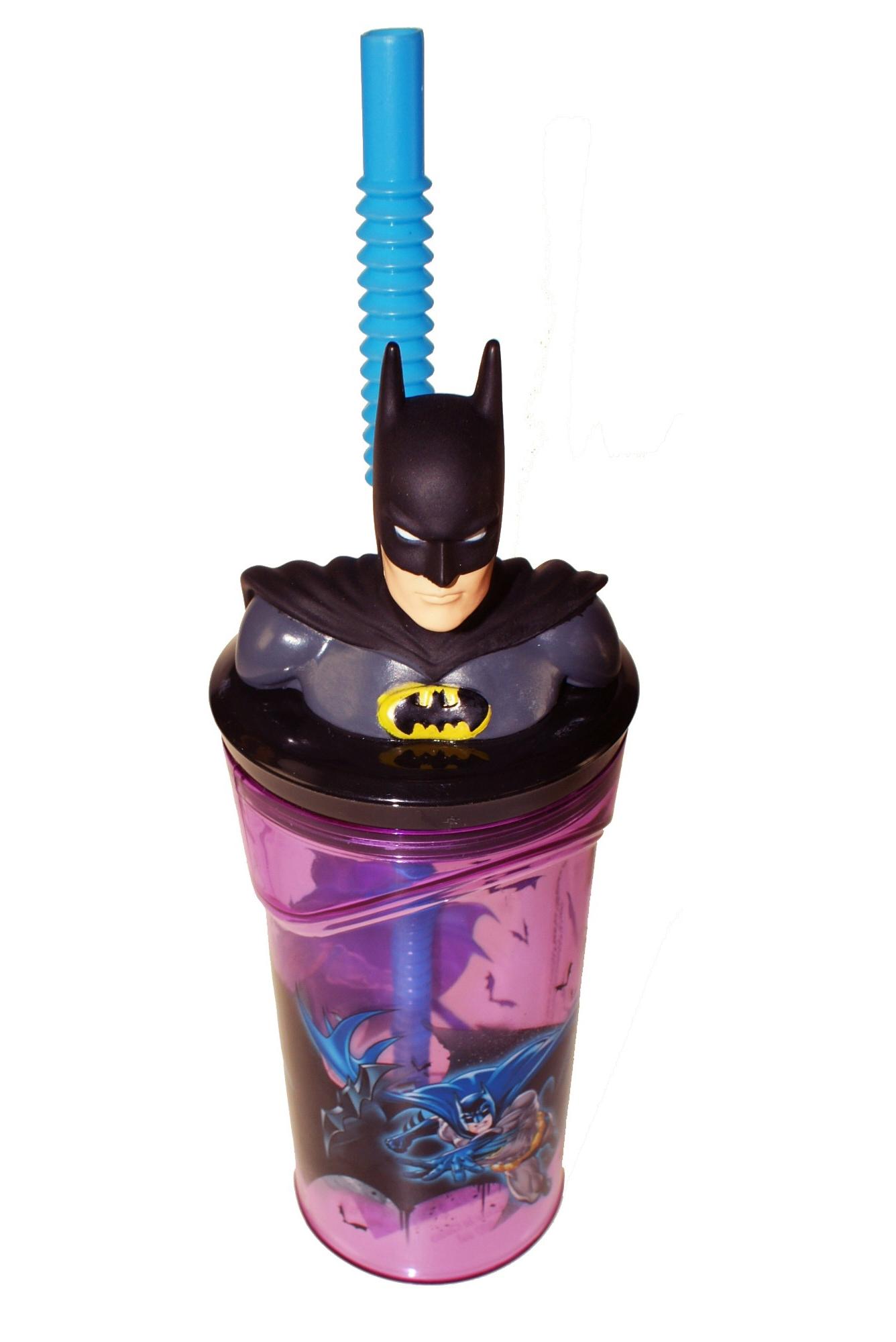 Batman Figurine '3d Head' Bottle with Straw