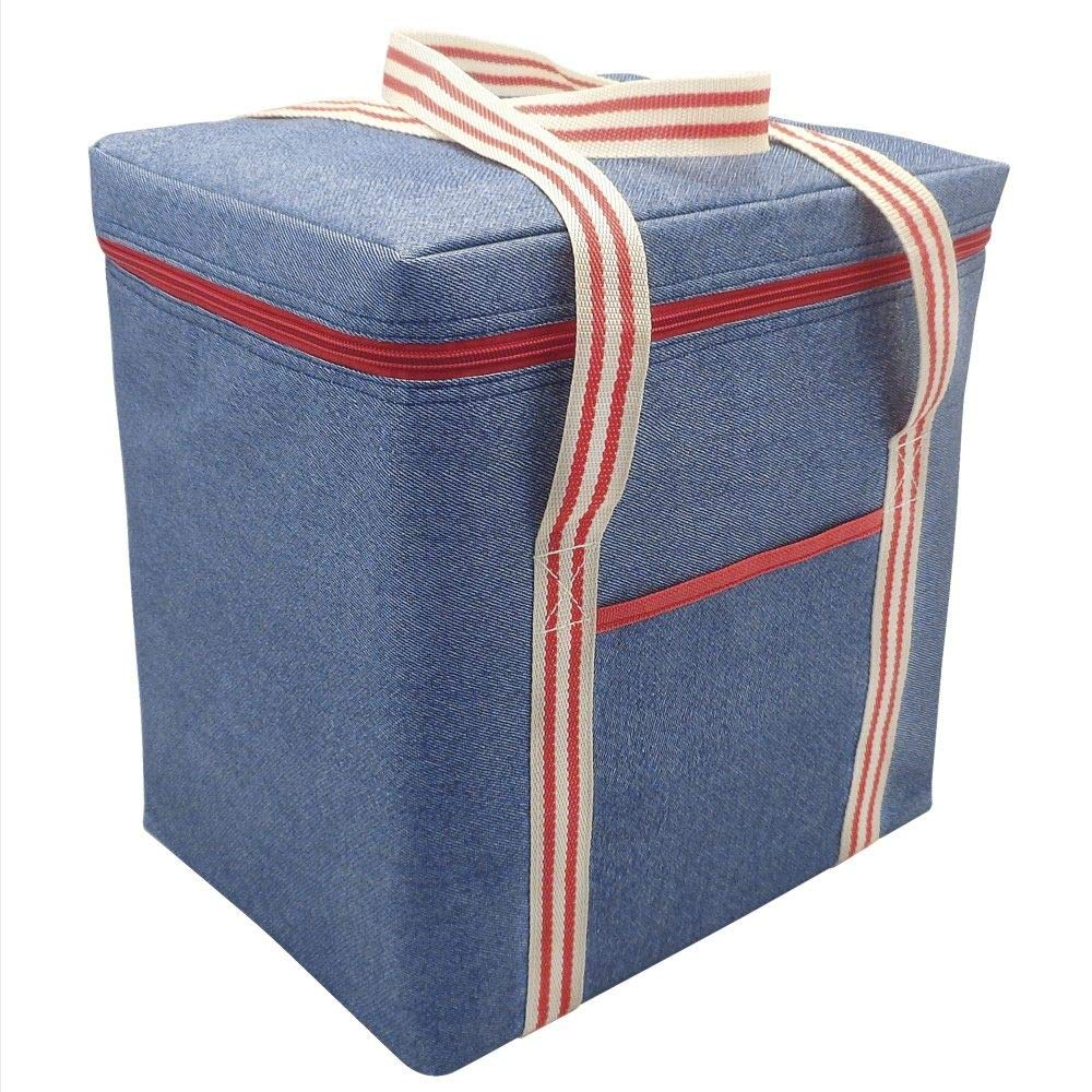 Alfresco Denim Striped Insulated Large Cooler Bag 12l Lunch Box