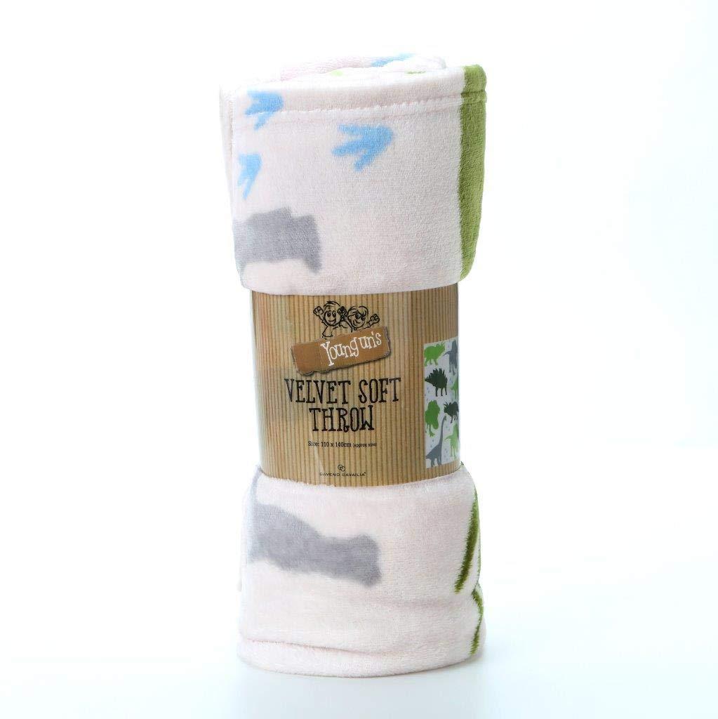 Luxury Kids Dino Printed Rotary Fleece Blanket Throw