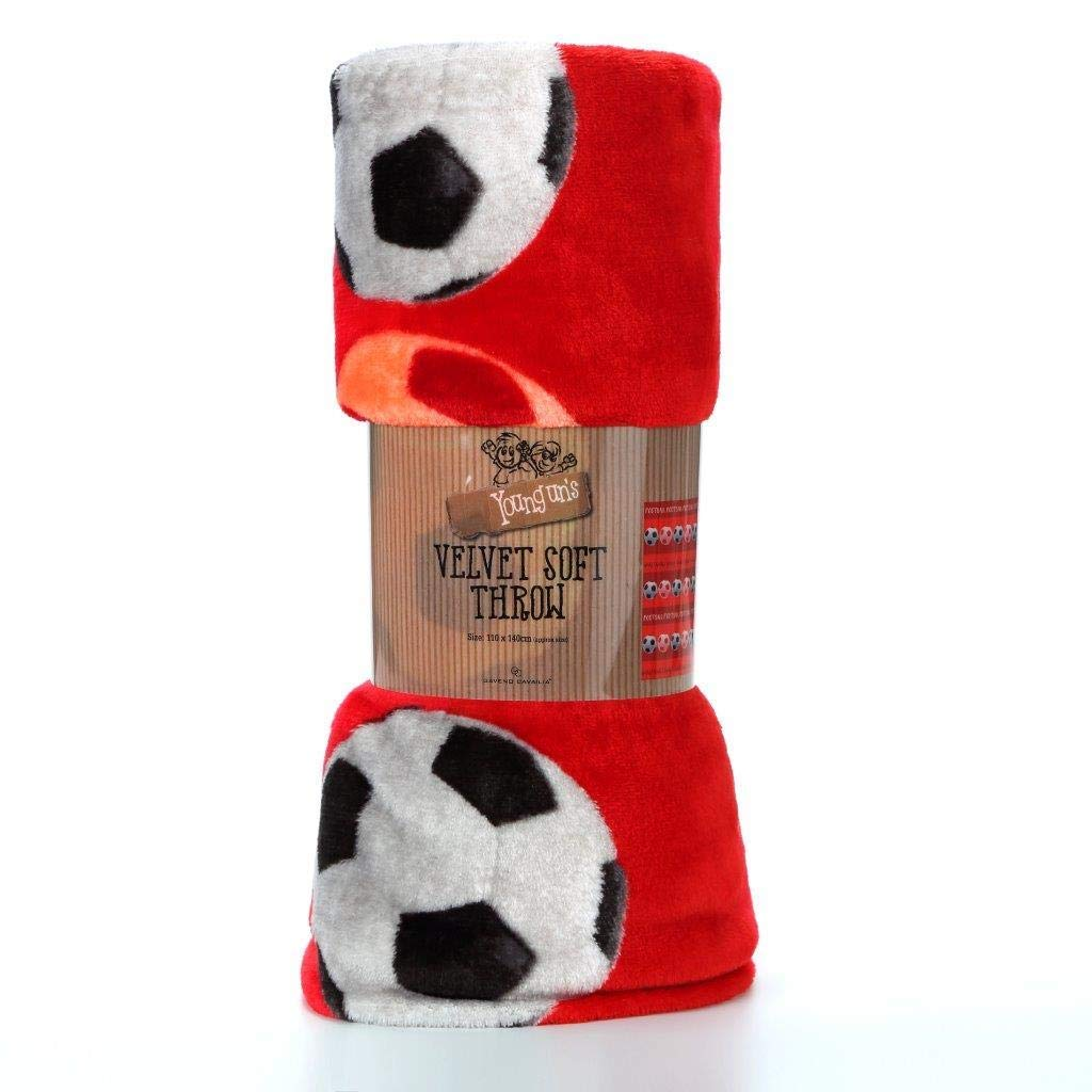 Luxury Kids Football Red Printed Fc Rotary Fleece Blanket Throw