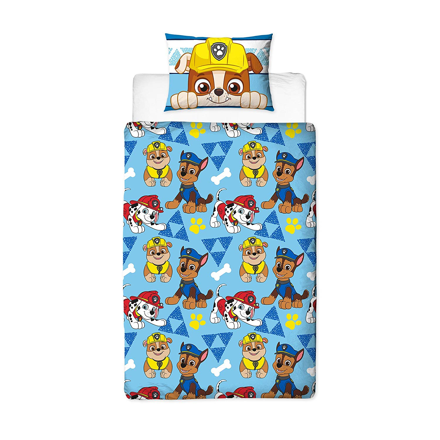 Paw Patrol Peek Blue Panel Single Bed Duvet Quilt Cover Set