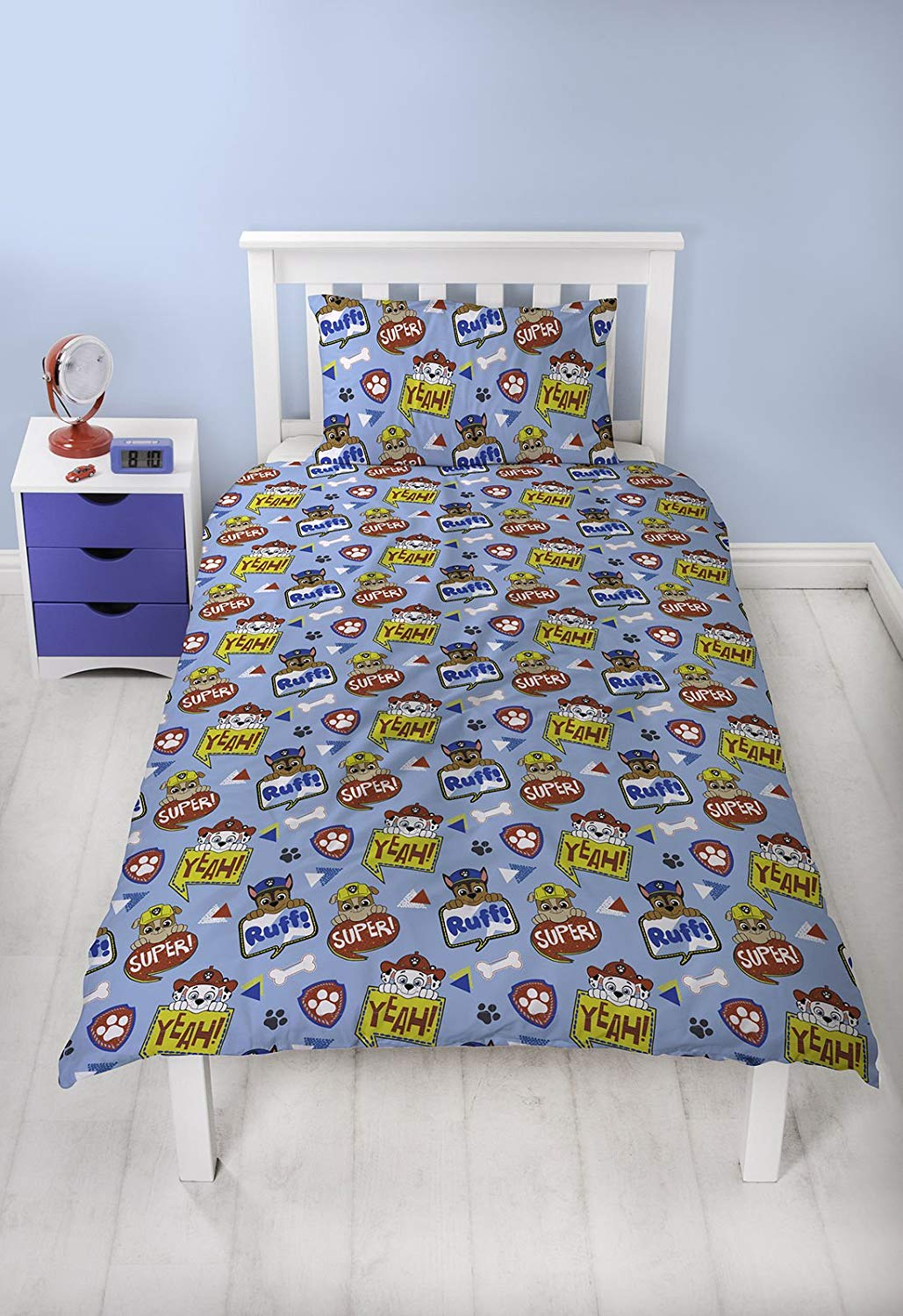 Paw Patrol Peek Blue Rotary Single Bed Duvet Quilt Cover Set