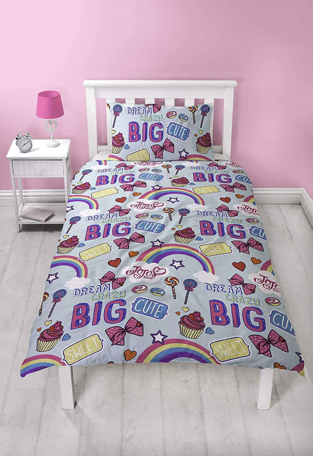 JoJo Siwa Dream Bows Reversible 2 Sided Kids Rotary Single Bed Duvet Quilt Cover Set