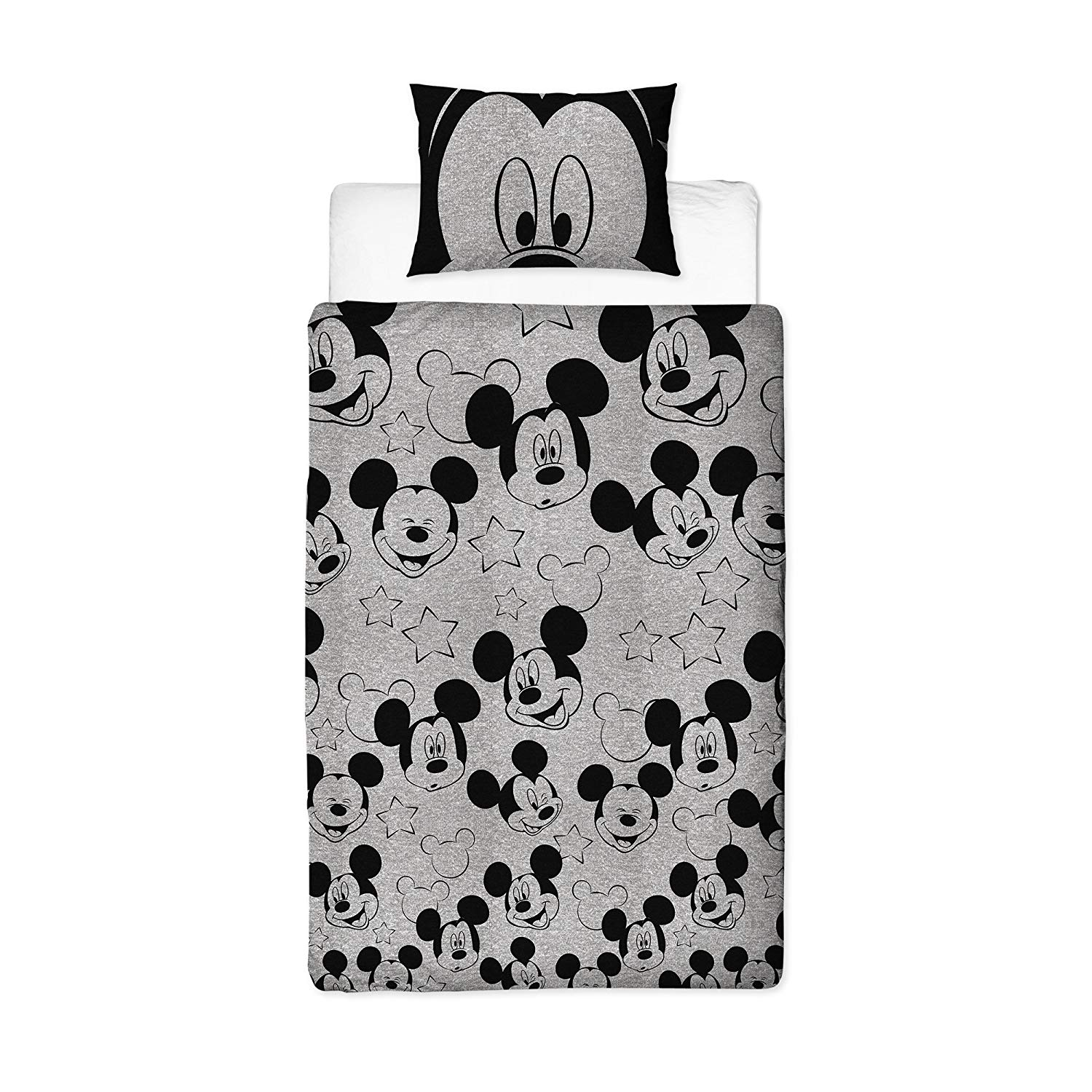 Disney Mickey Mouse Grey & White Stars Silhouette Rotary Single Bed Duvet Quilt Cover Set