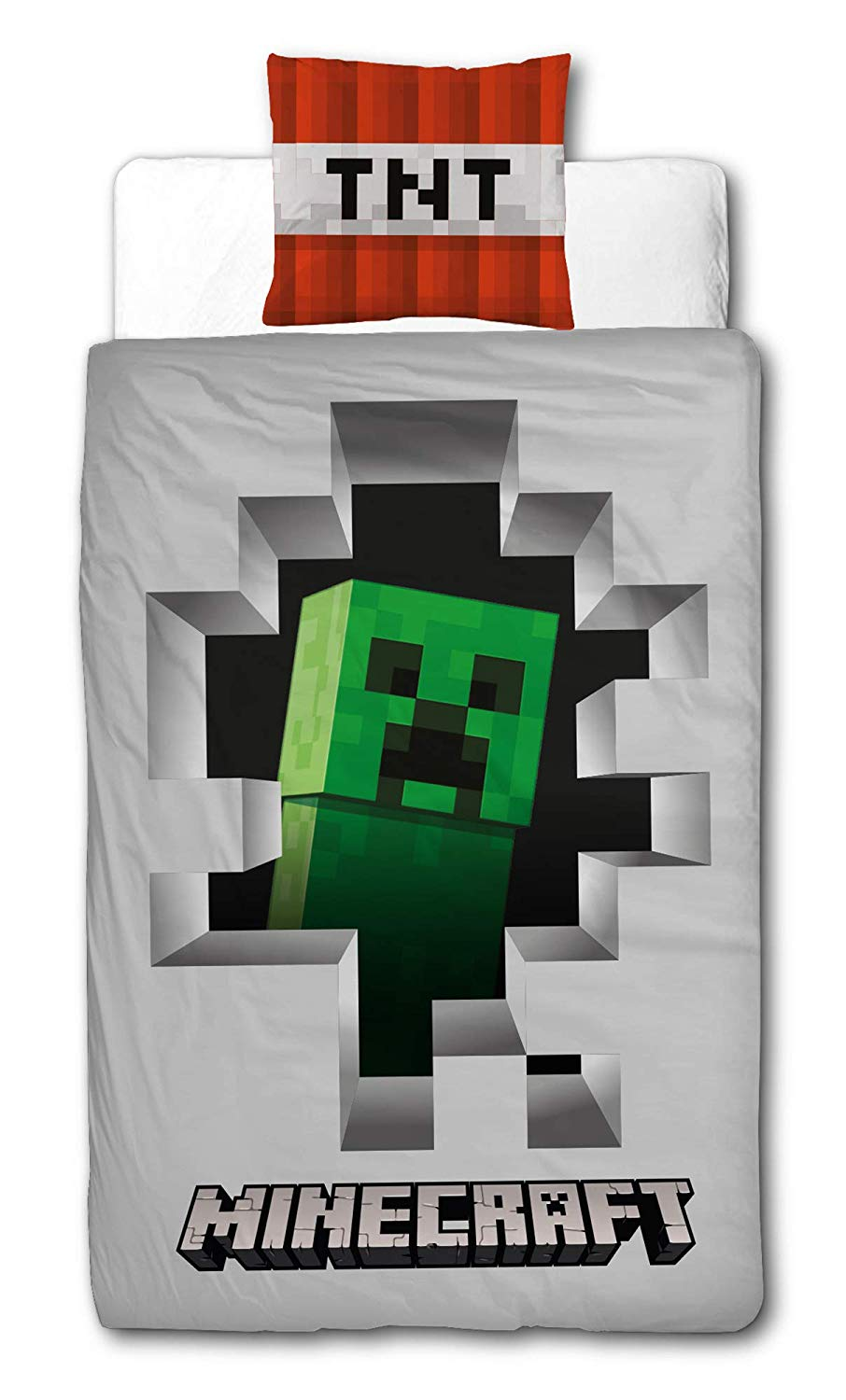 Minecraft Dynamite Creeper Reversible Panel Single Bed Duvet Quilt Cover Set