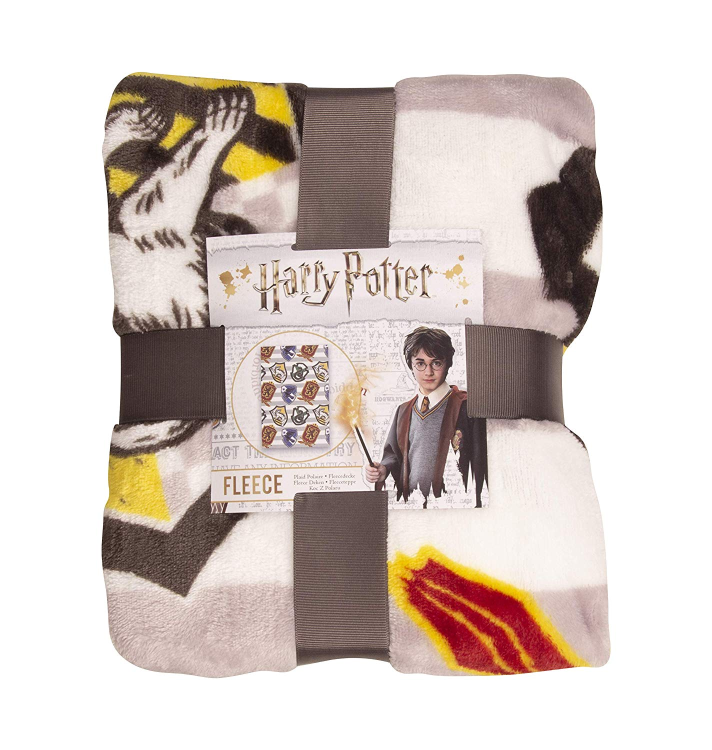 Harry Potter House Stripy Grey & White Rotary Fleece Blanket Throw