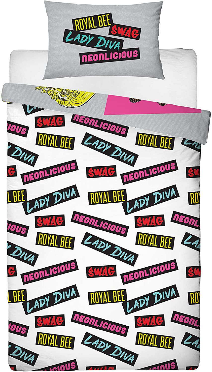 L.o.l Suprise! Omg Polycotton Buzz Girls Panel Single Bed Duvet Quilt Cover Set