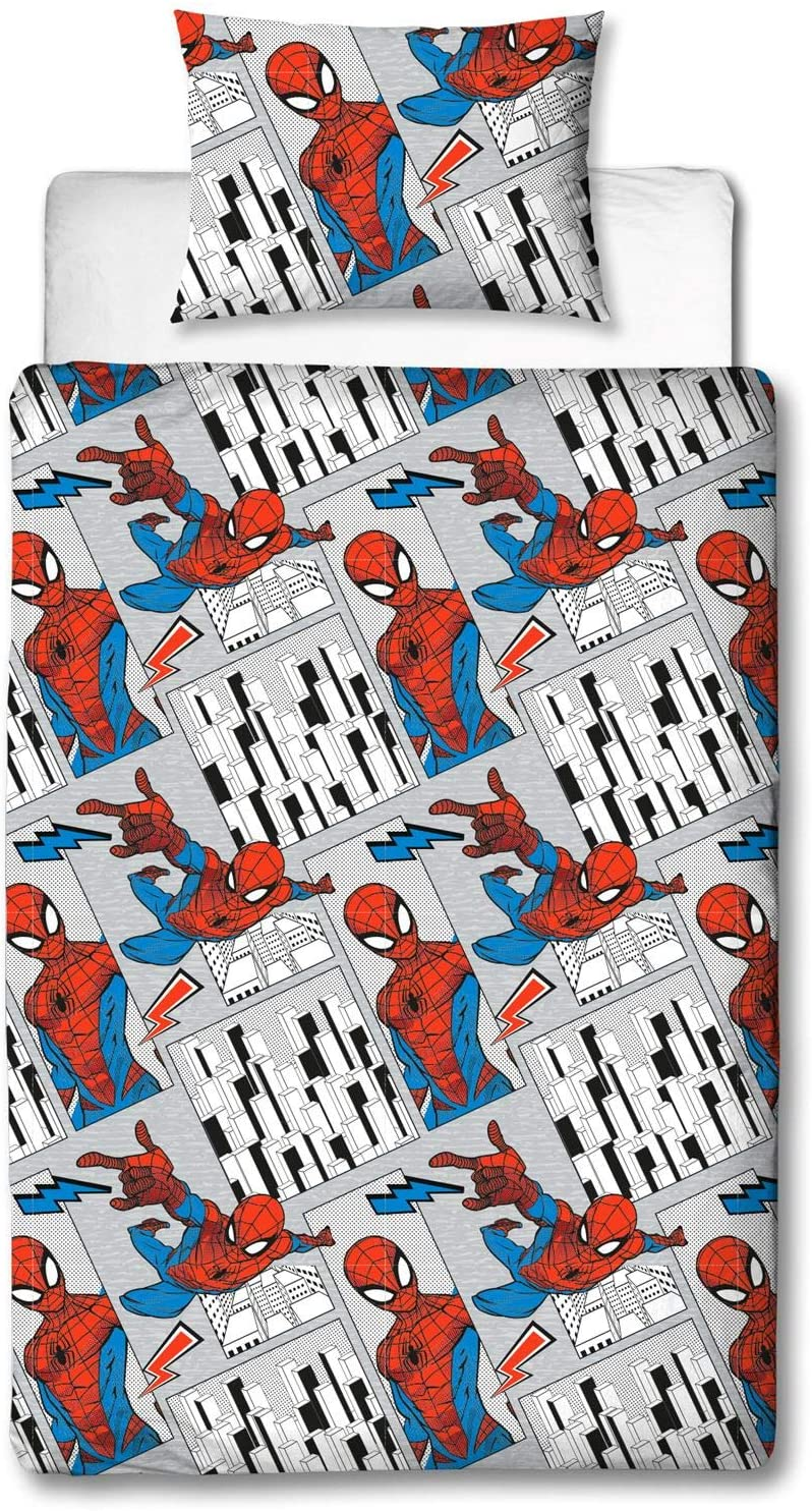 Spiderman Grey City Landscape Rotary Single Bed Duvet Quilt Cover Set